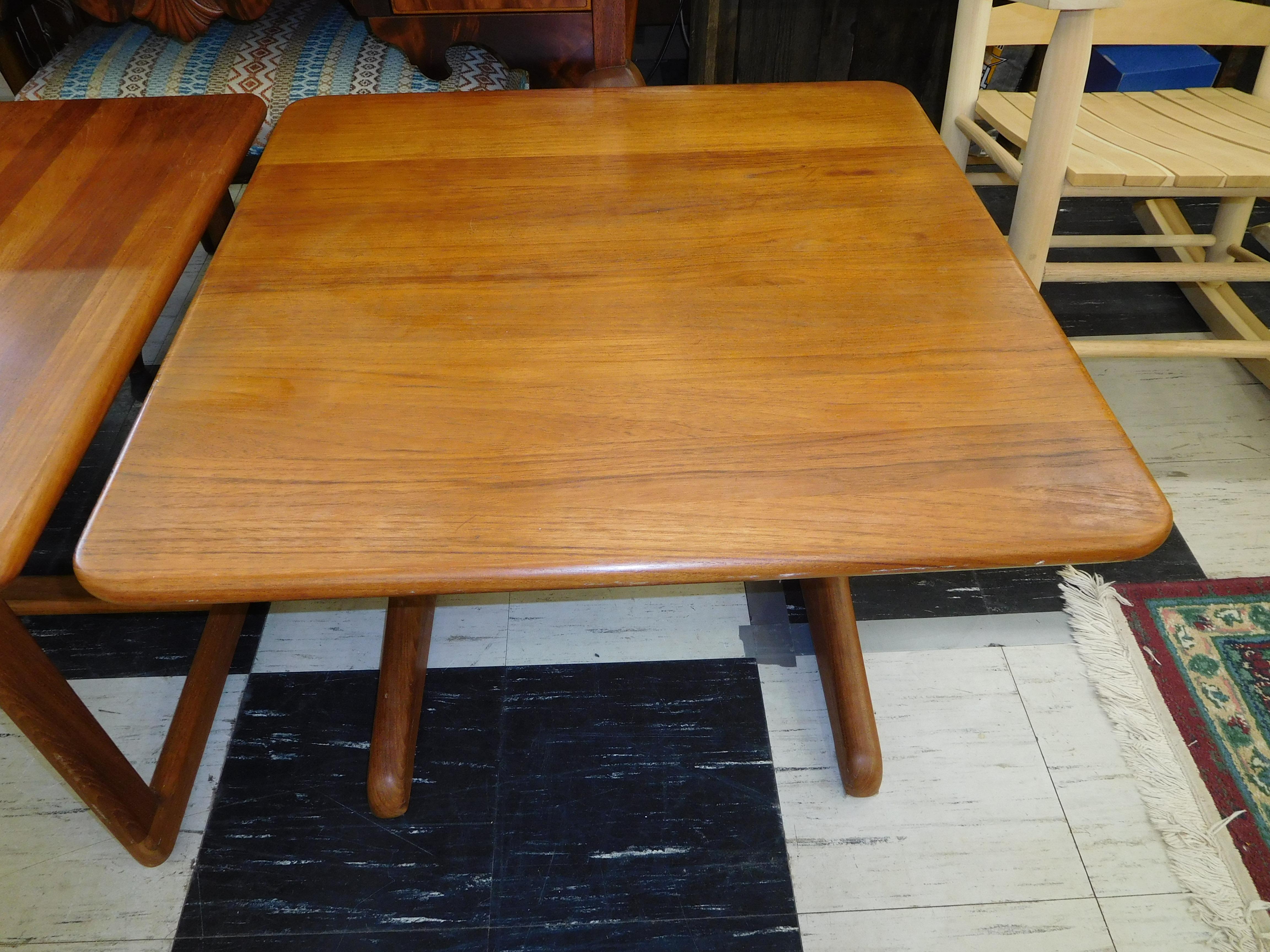 Mid Century Danish Teak End Table with Trestle Base