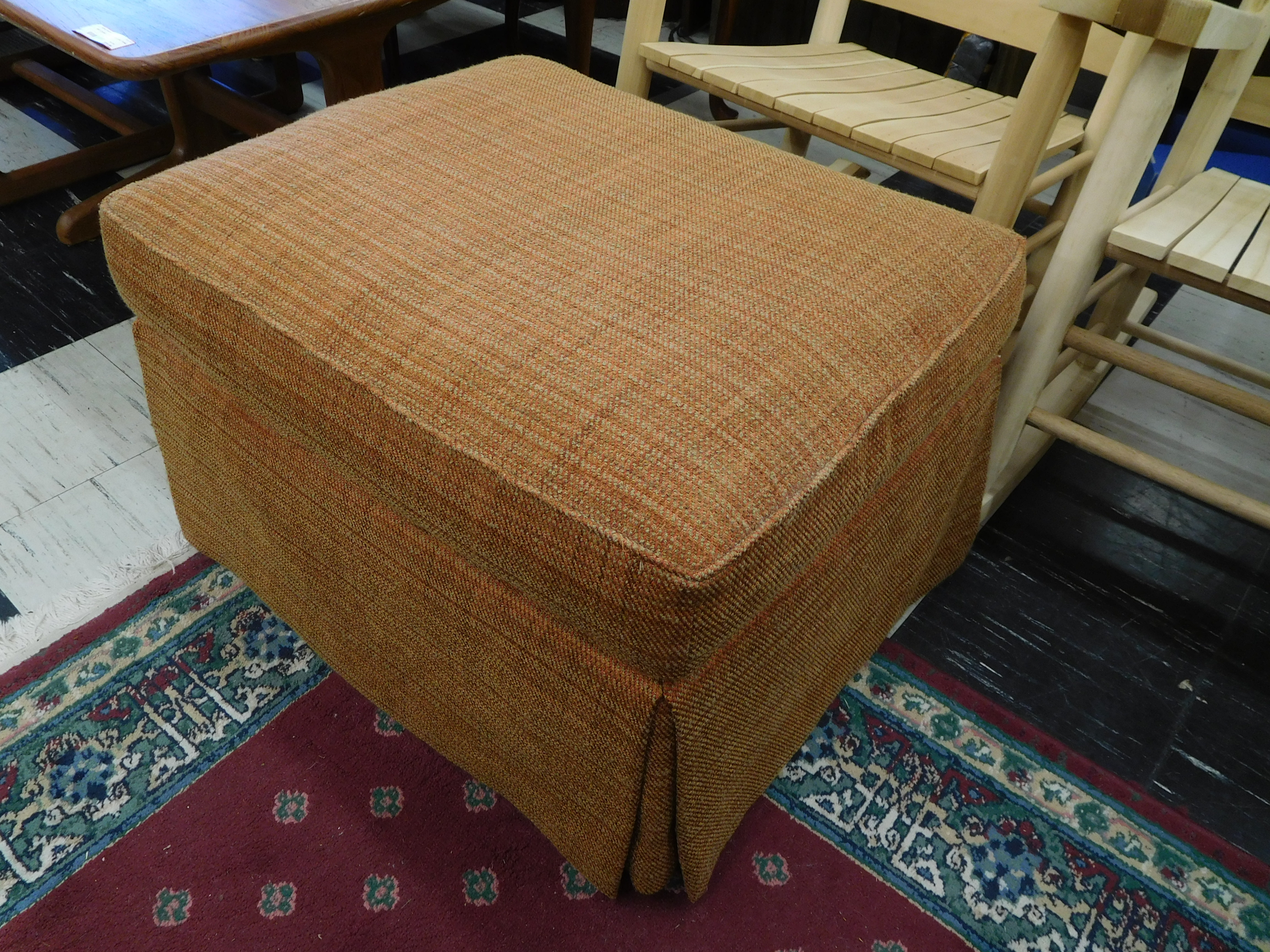 Ottoman with Orange and Gold Weave Upholstery by Baker Furniture