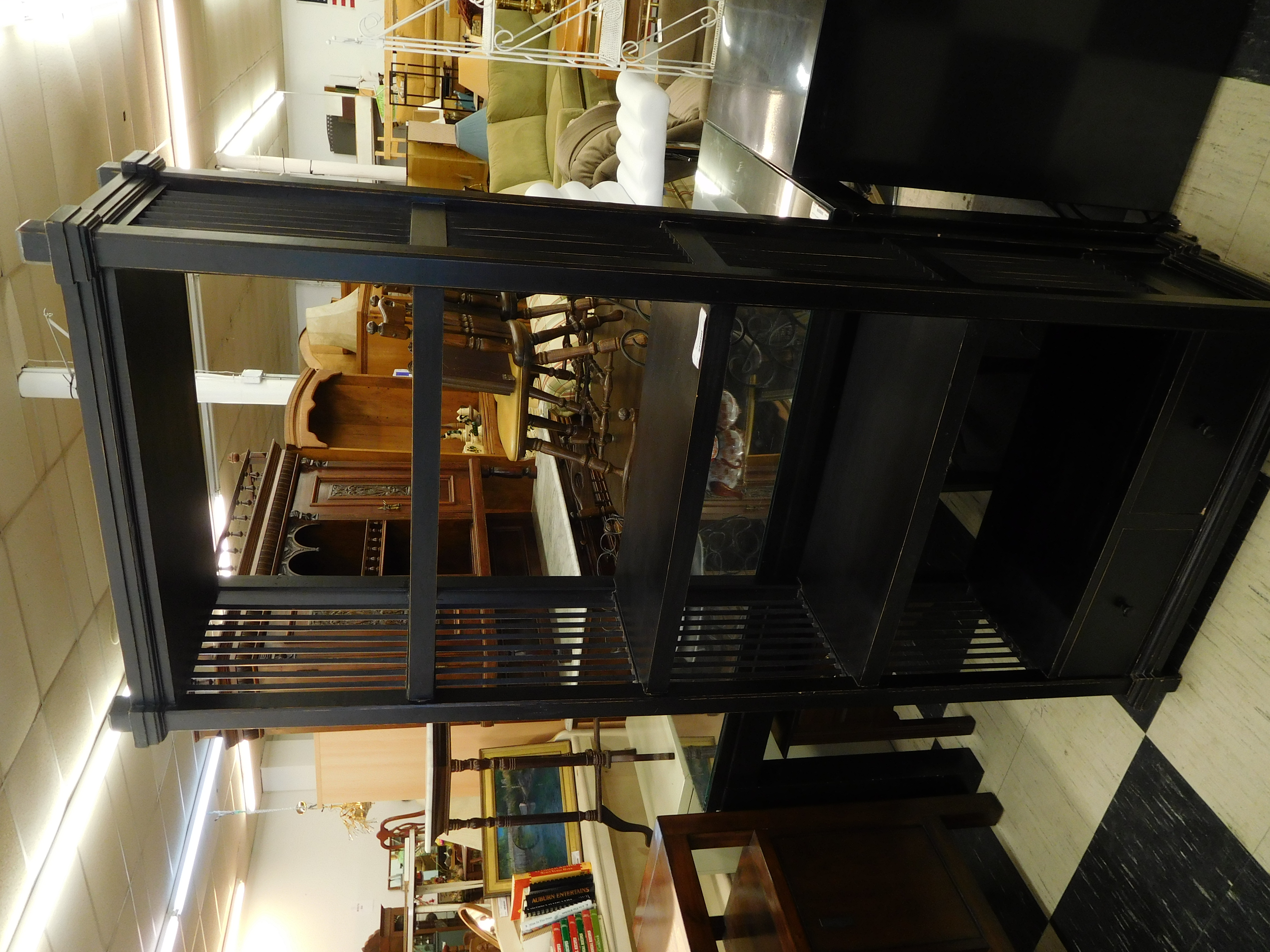 Black Bookcase with 2 Bottom Drawers, Distressed Look