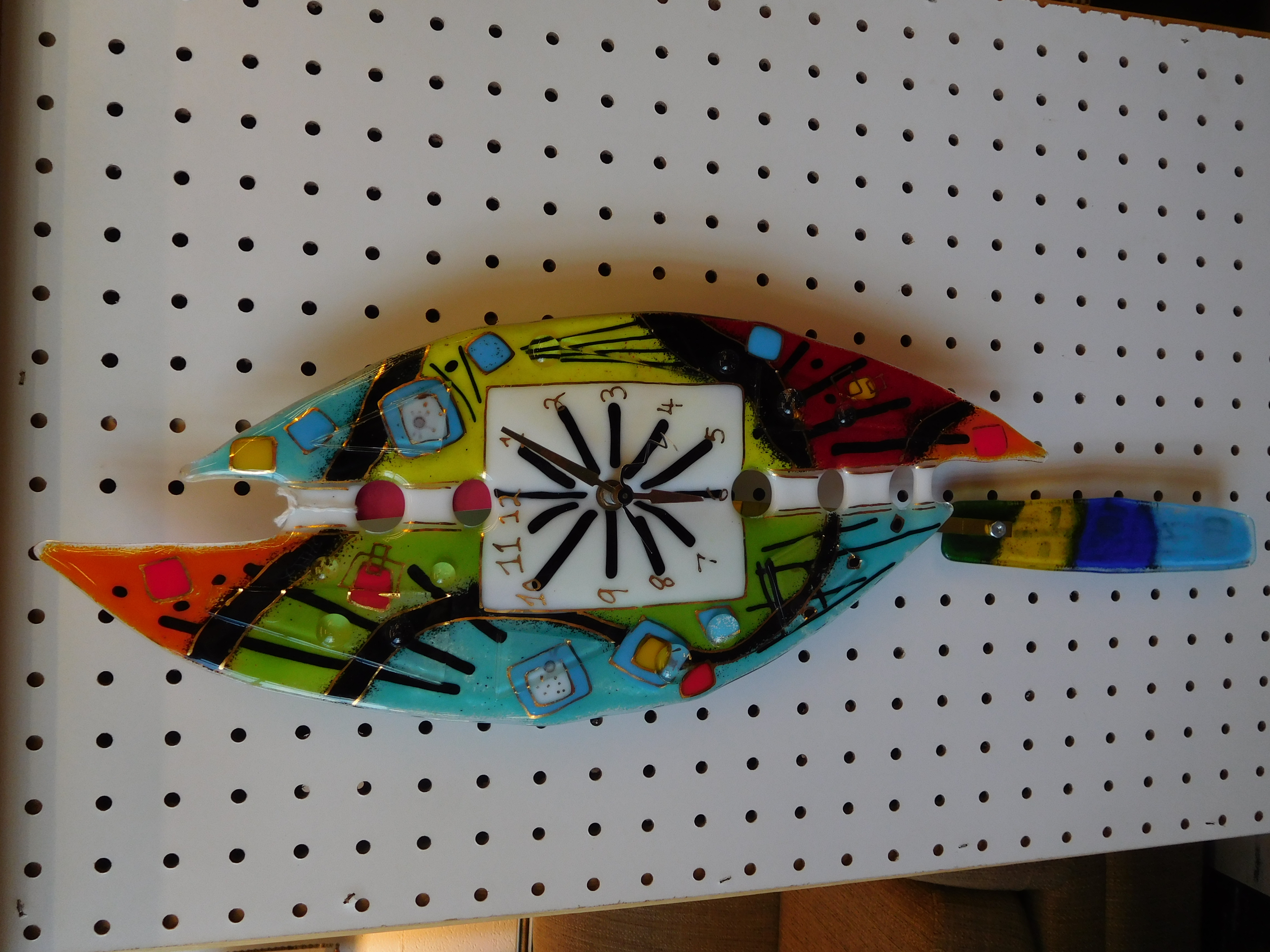 Colorful Handcrafted Fused Glass Pendulum Wall Clock