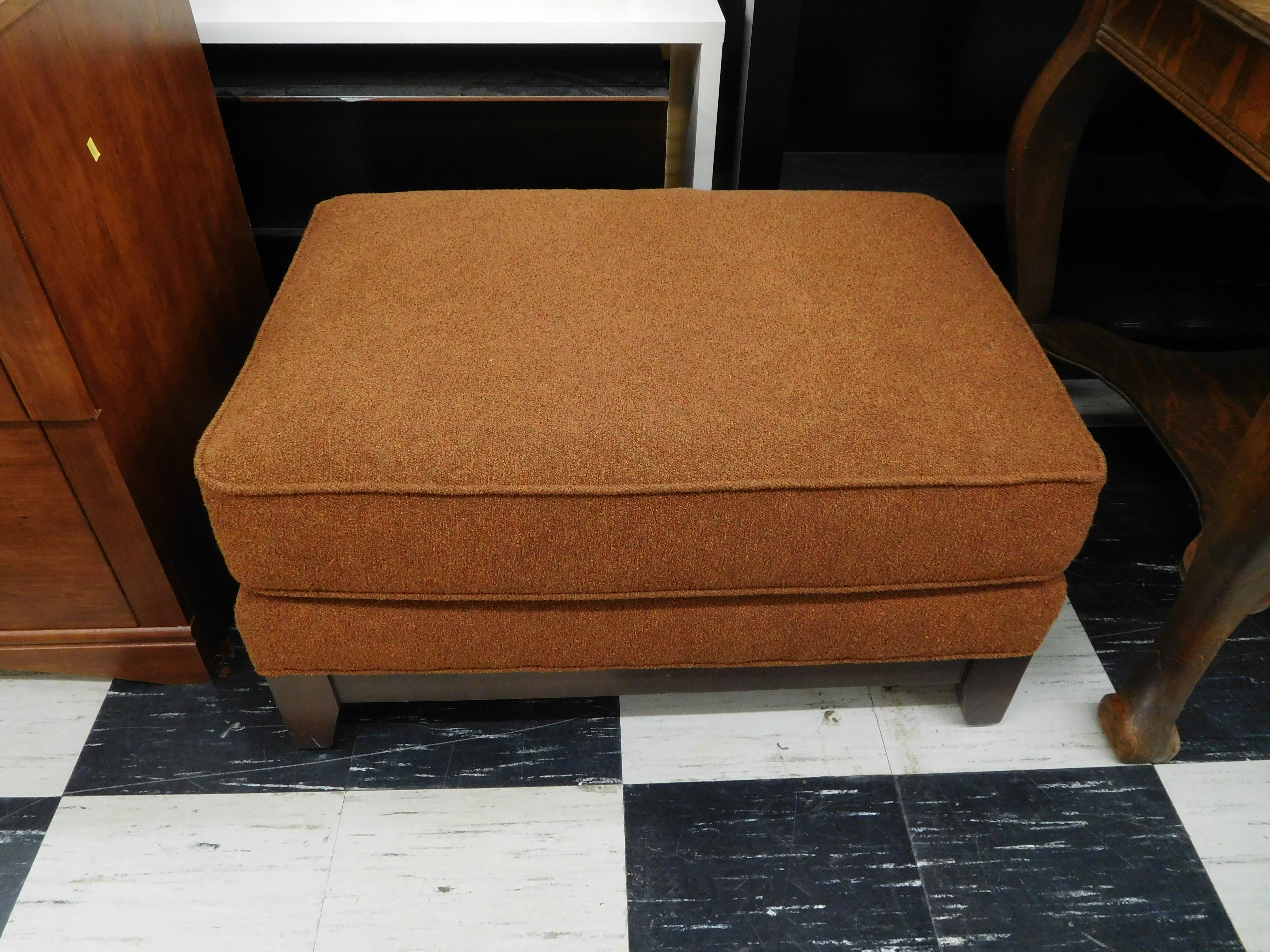 Apricot Upholstered Ottoman by Ethan Allen