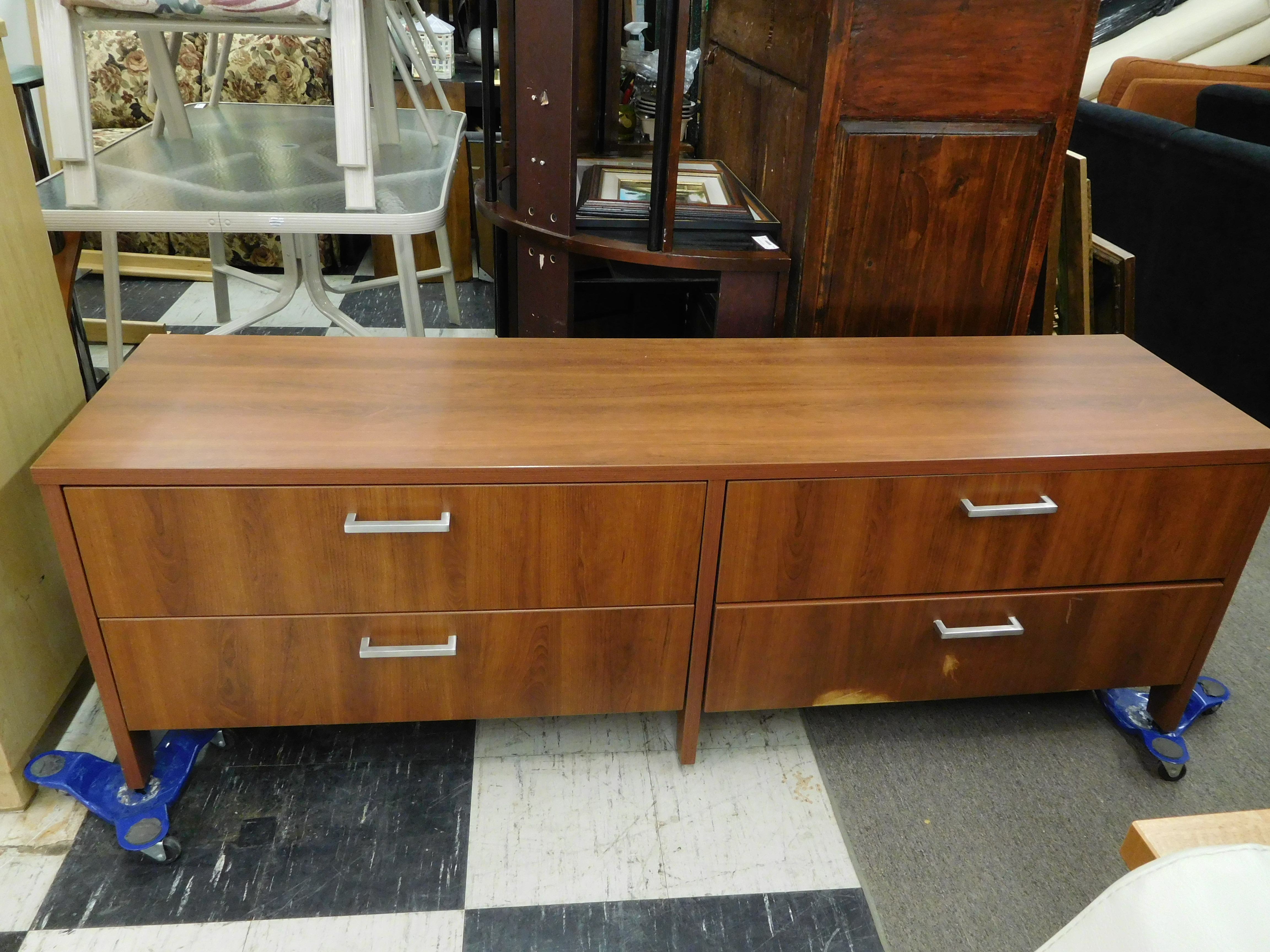 Modern Bernhardt Credenza with 4 Drawers and Silver Pulls
