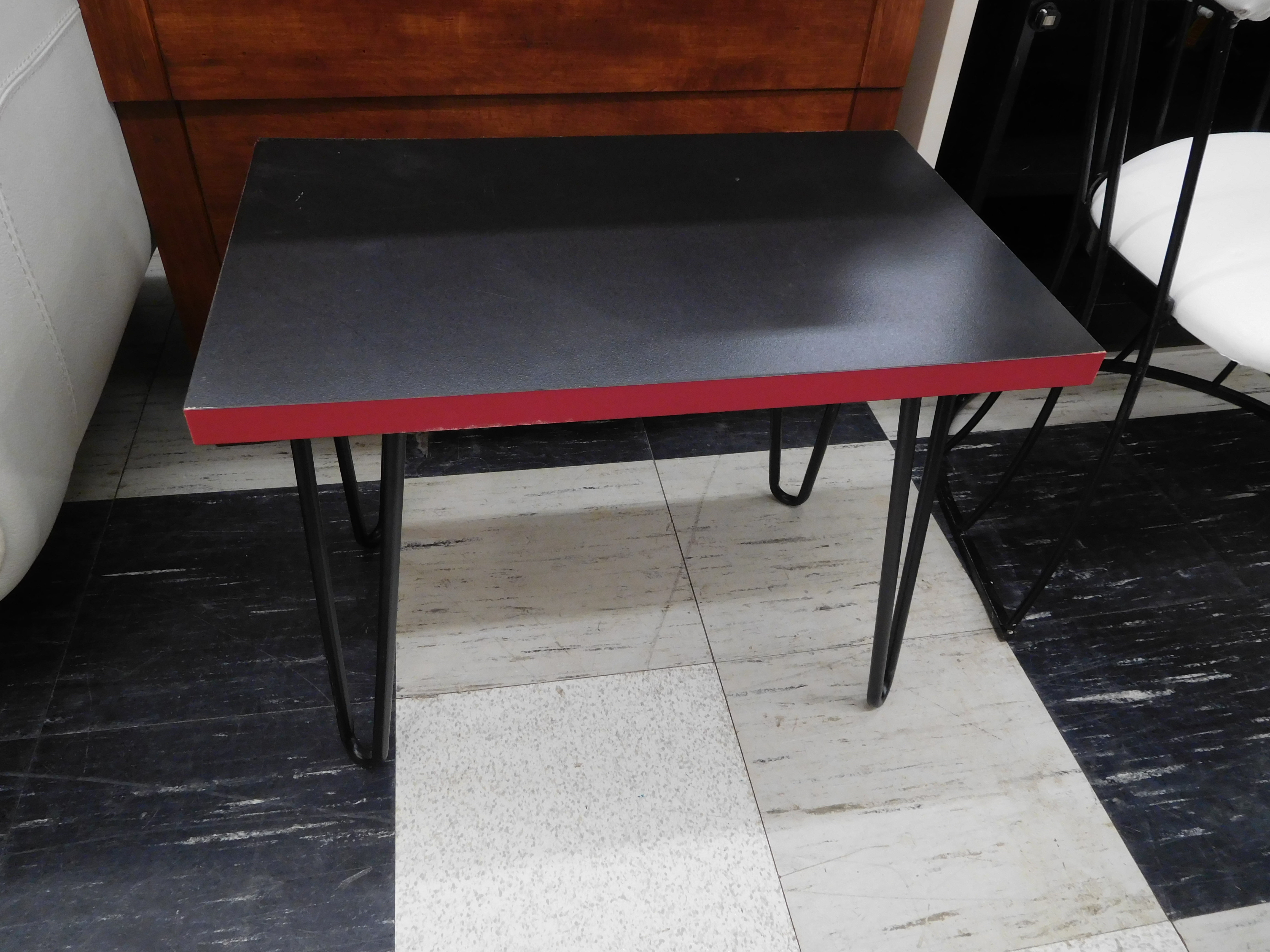 Small Black and Red Mid Century Modern Side Table with Hairpin Legs