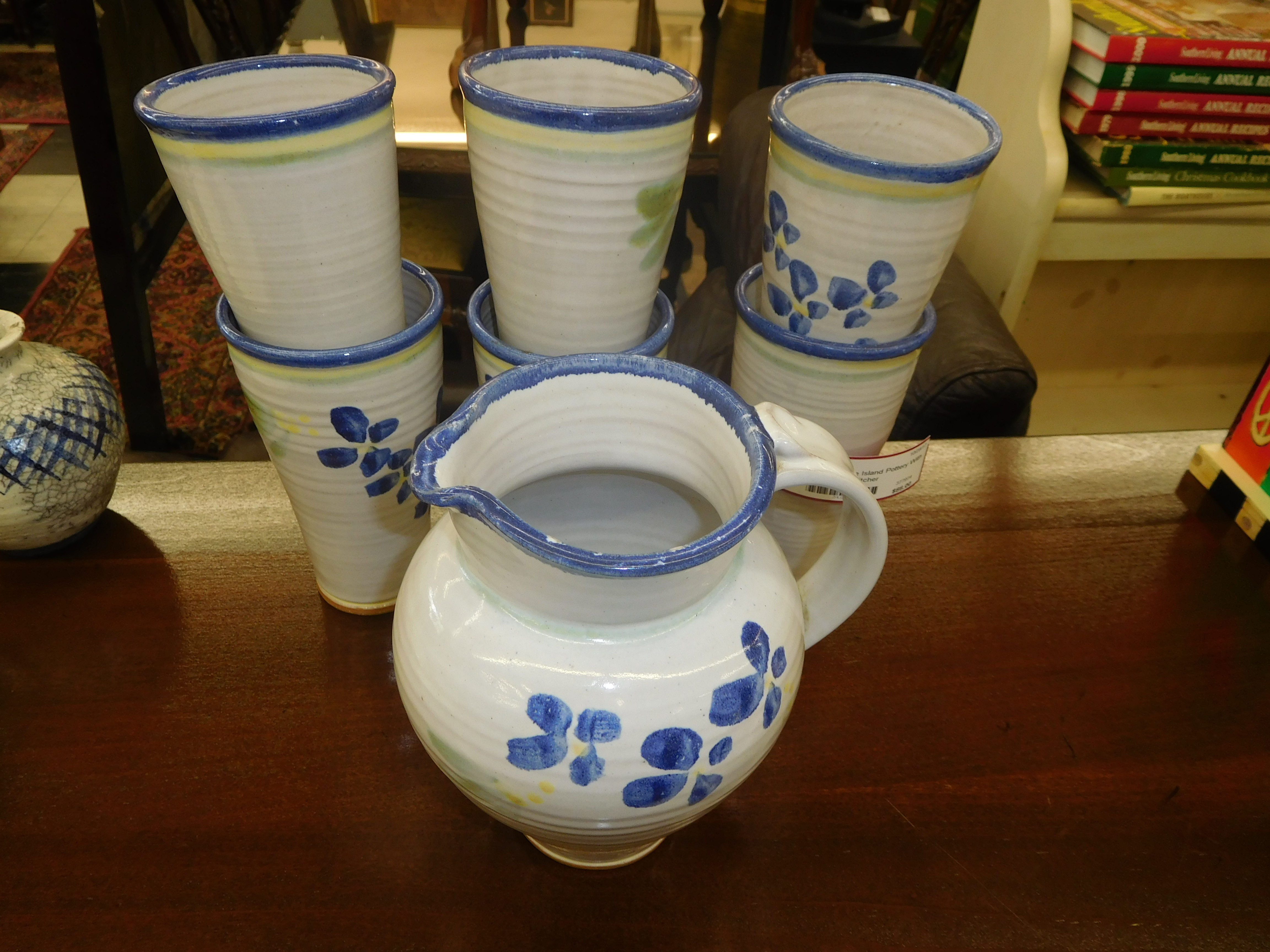 Set of 6 Turtle Island Pottery Tumblers with Matching Pitcher
