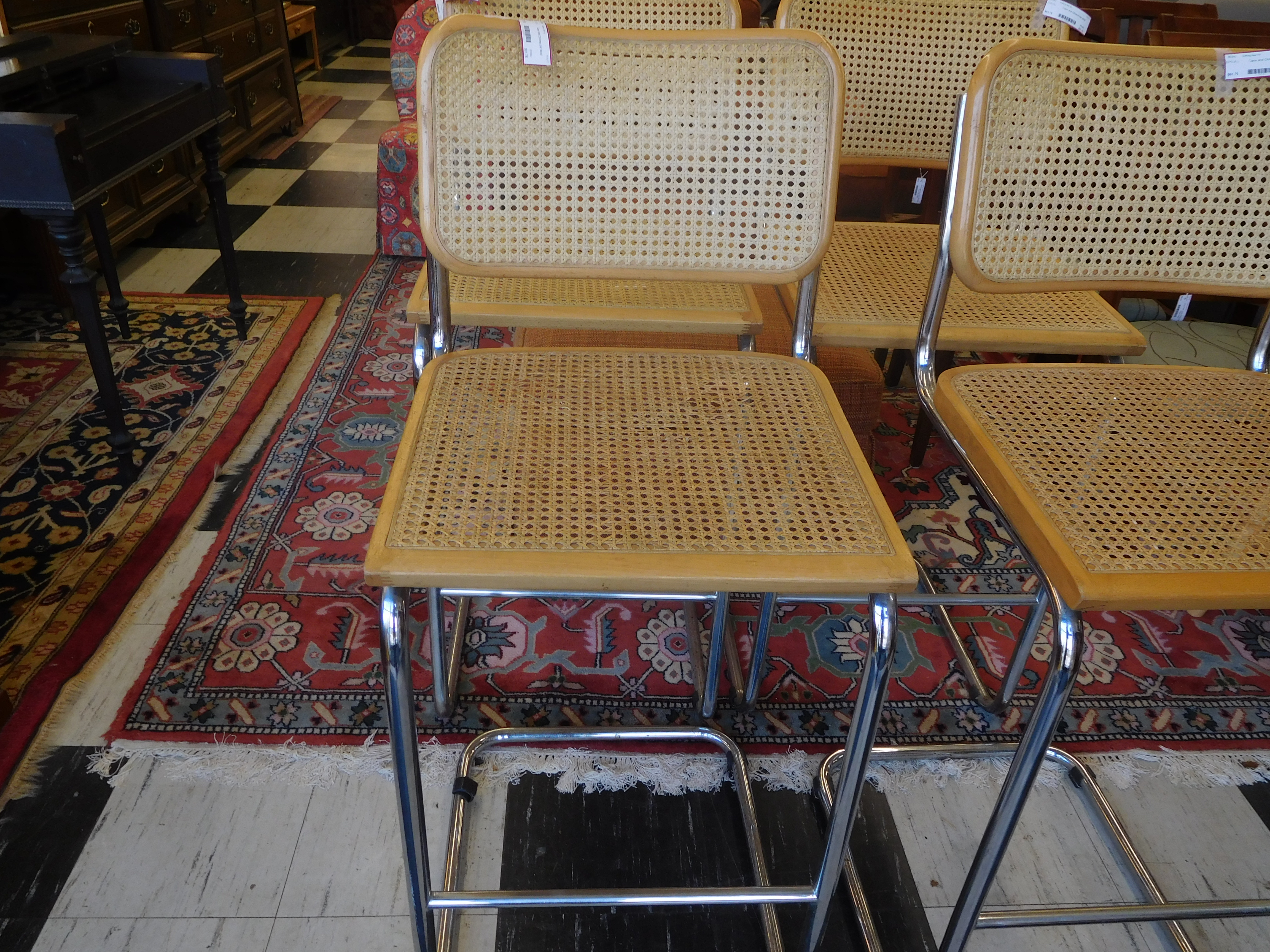 Cane and Chrome Bar Stool in Great Condition