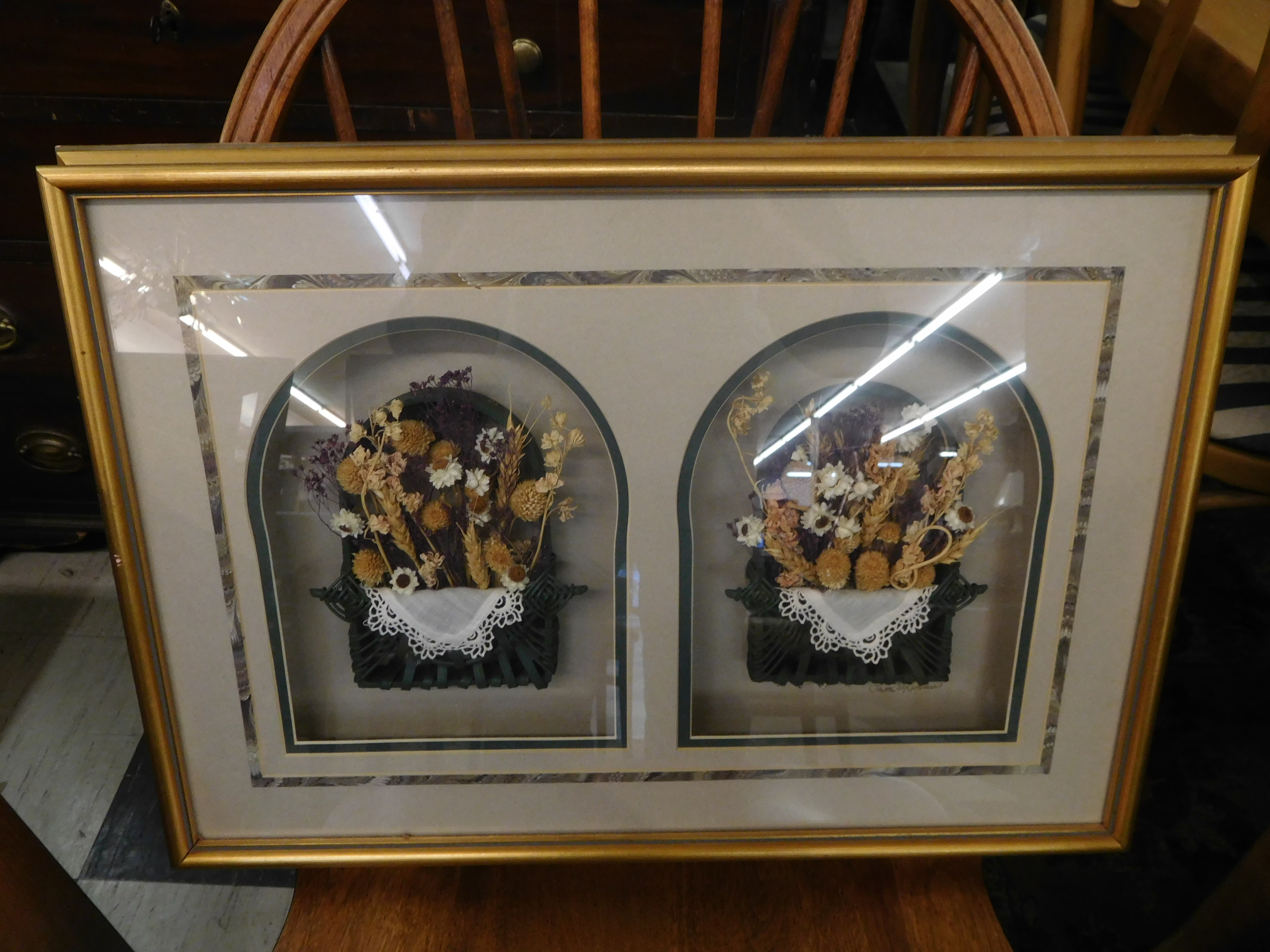 Framed Shadow Box Displaying Dried Flowers, Wicker and Lace