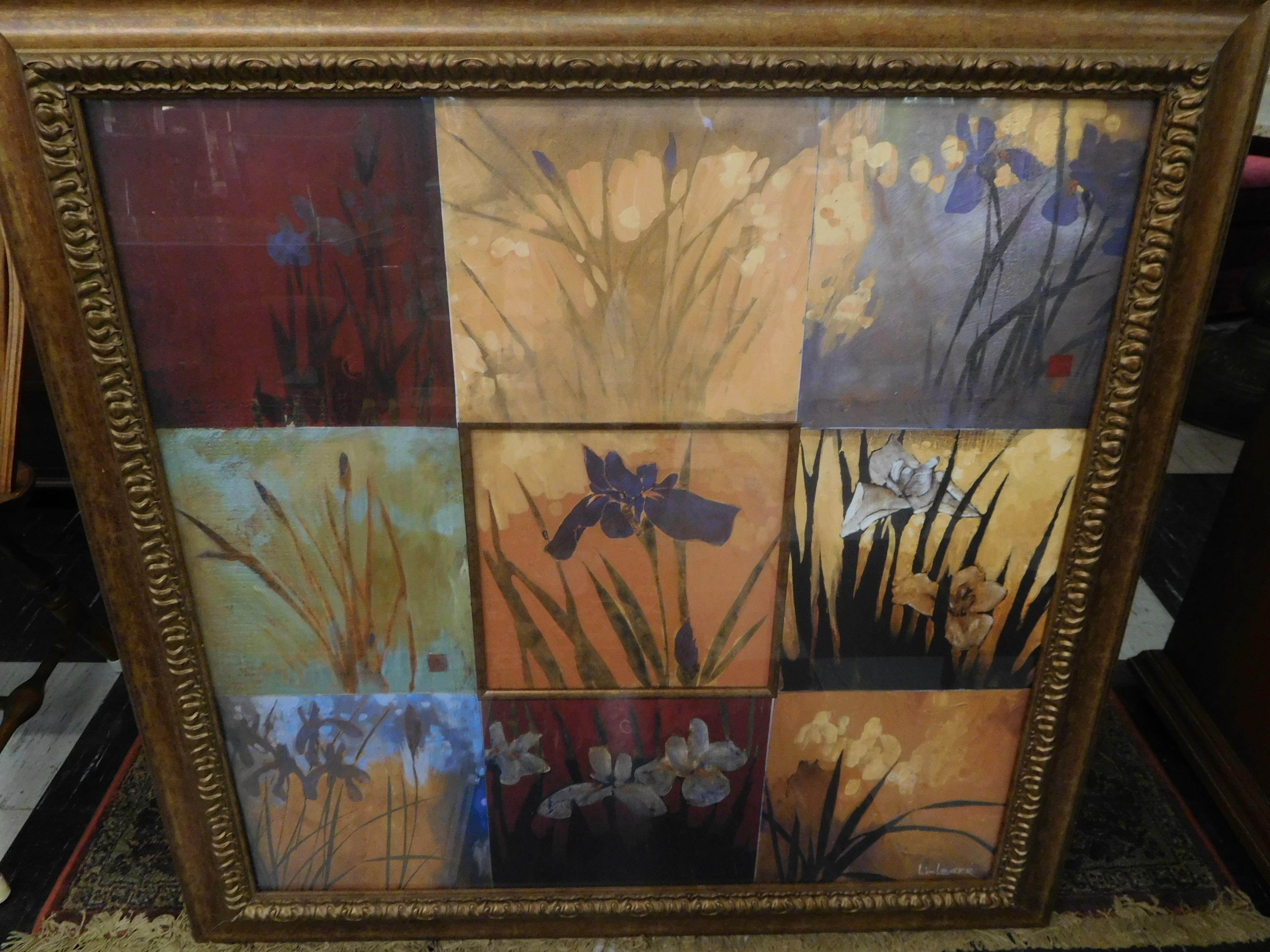 Large Framed Abstract Block Print of Irises, 42