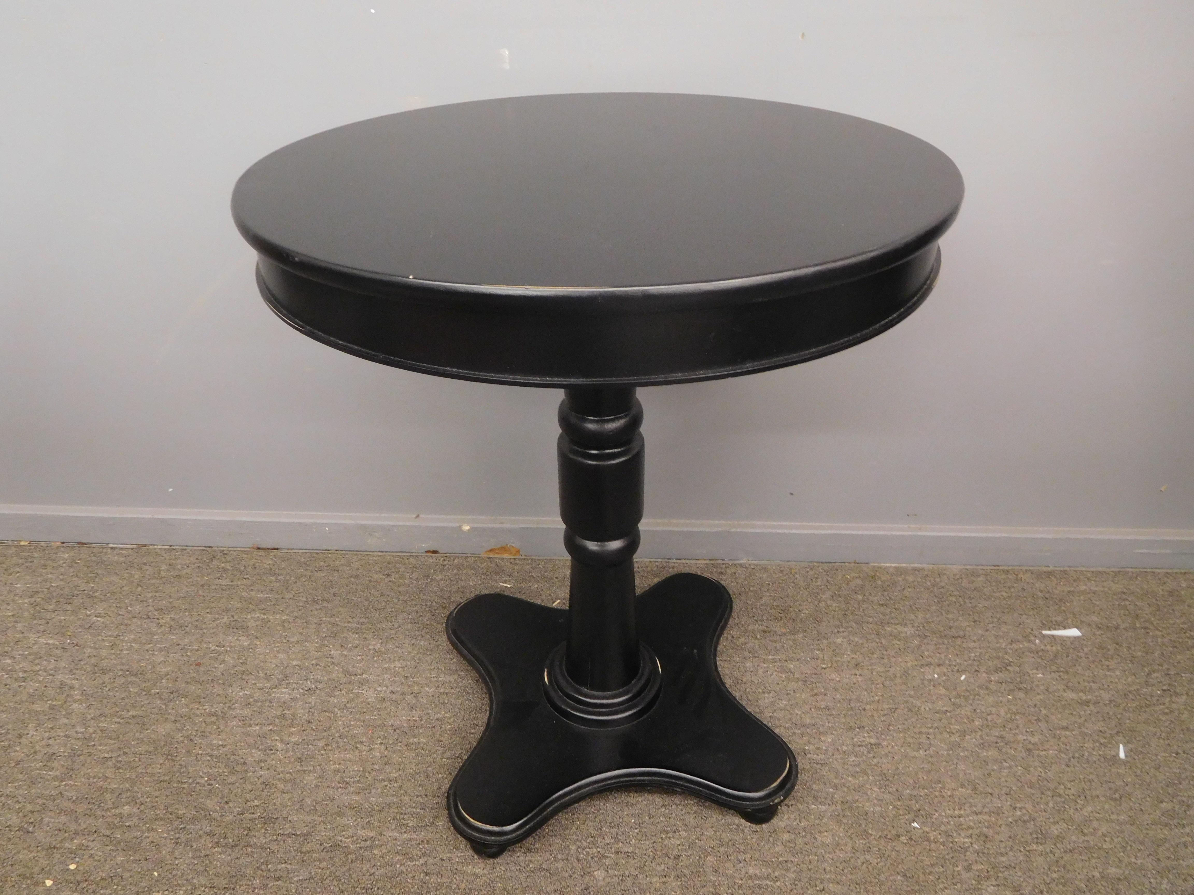 Small Round Black Accent Table or Bistro Table for 2