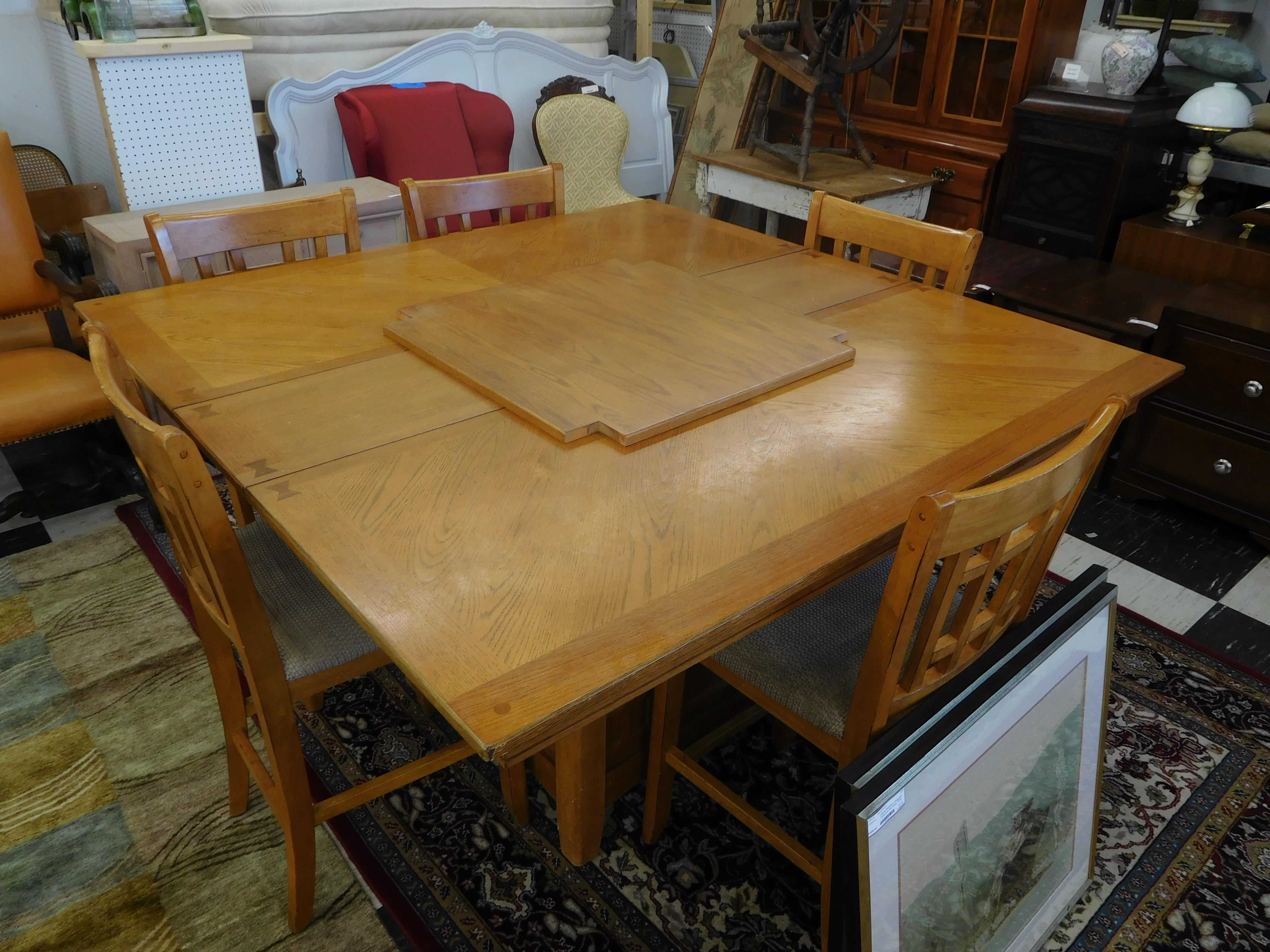 Ashley Mission Style Pub Height Dining Table with 5 Chairs