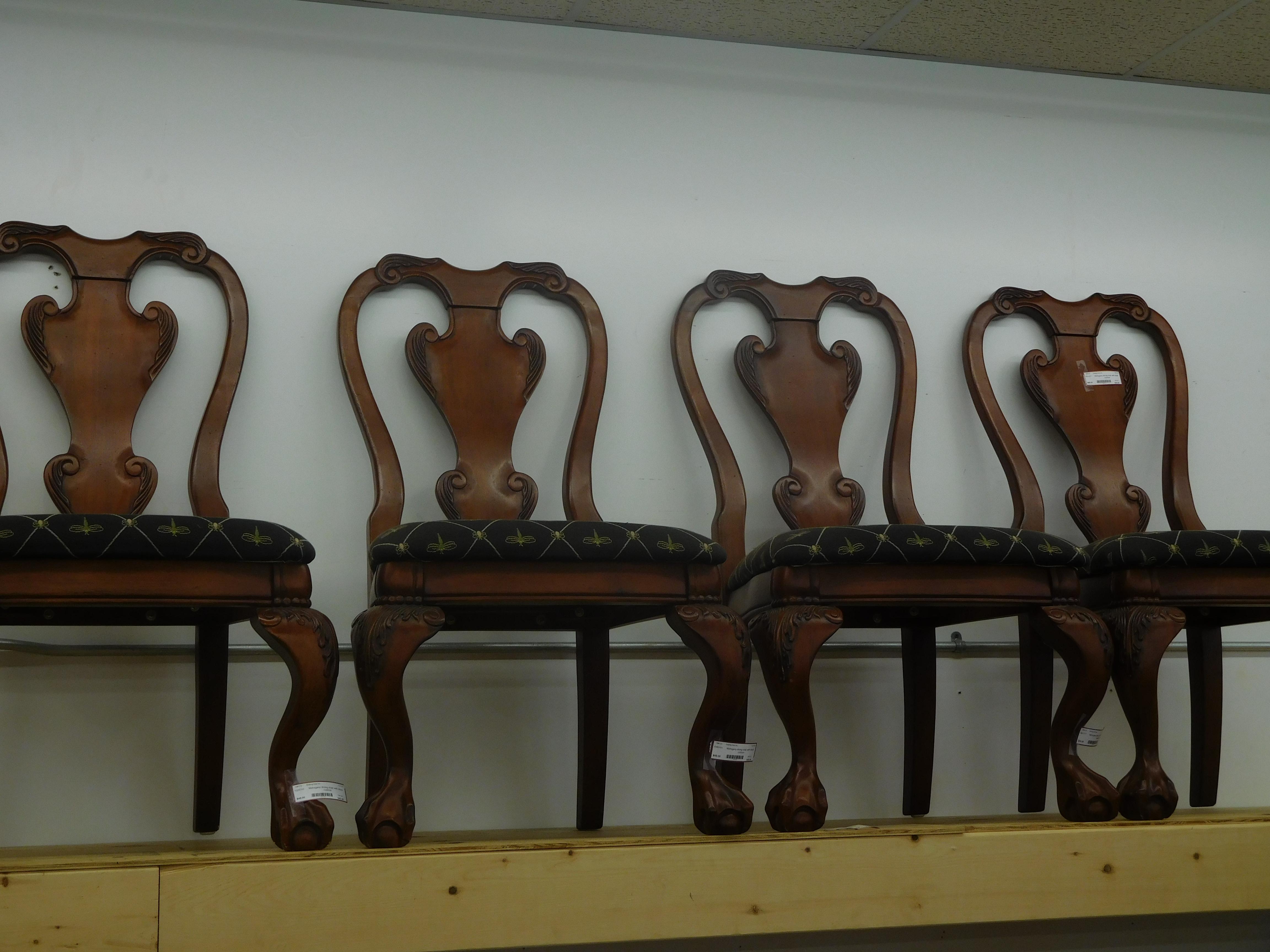 Mahogany Dining Chair with Black Cushion
