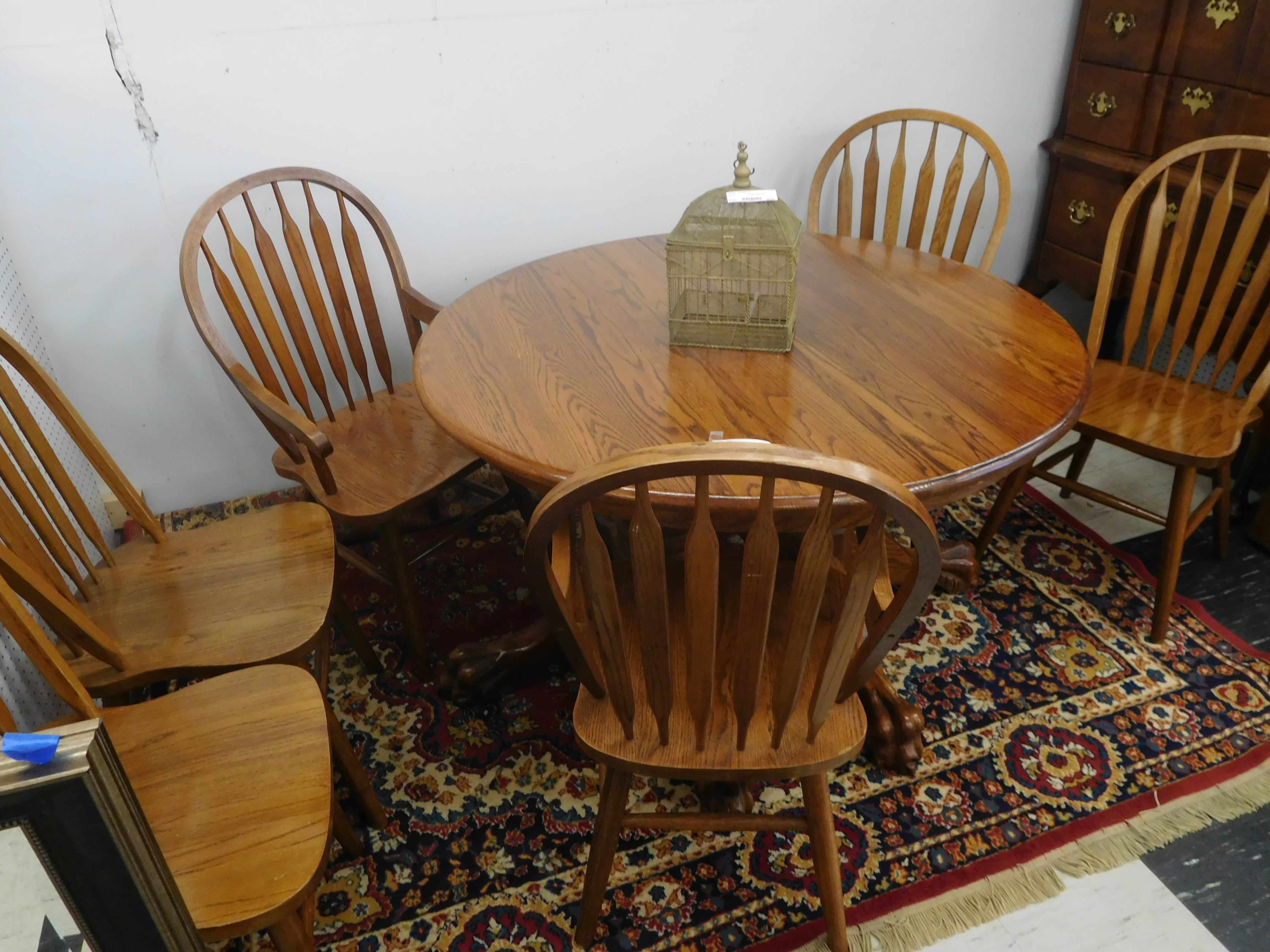 Solid Oak Dining Table with 6 Chairs and 2 Leaves - Extends to 8 Feet!
