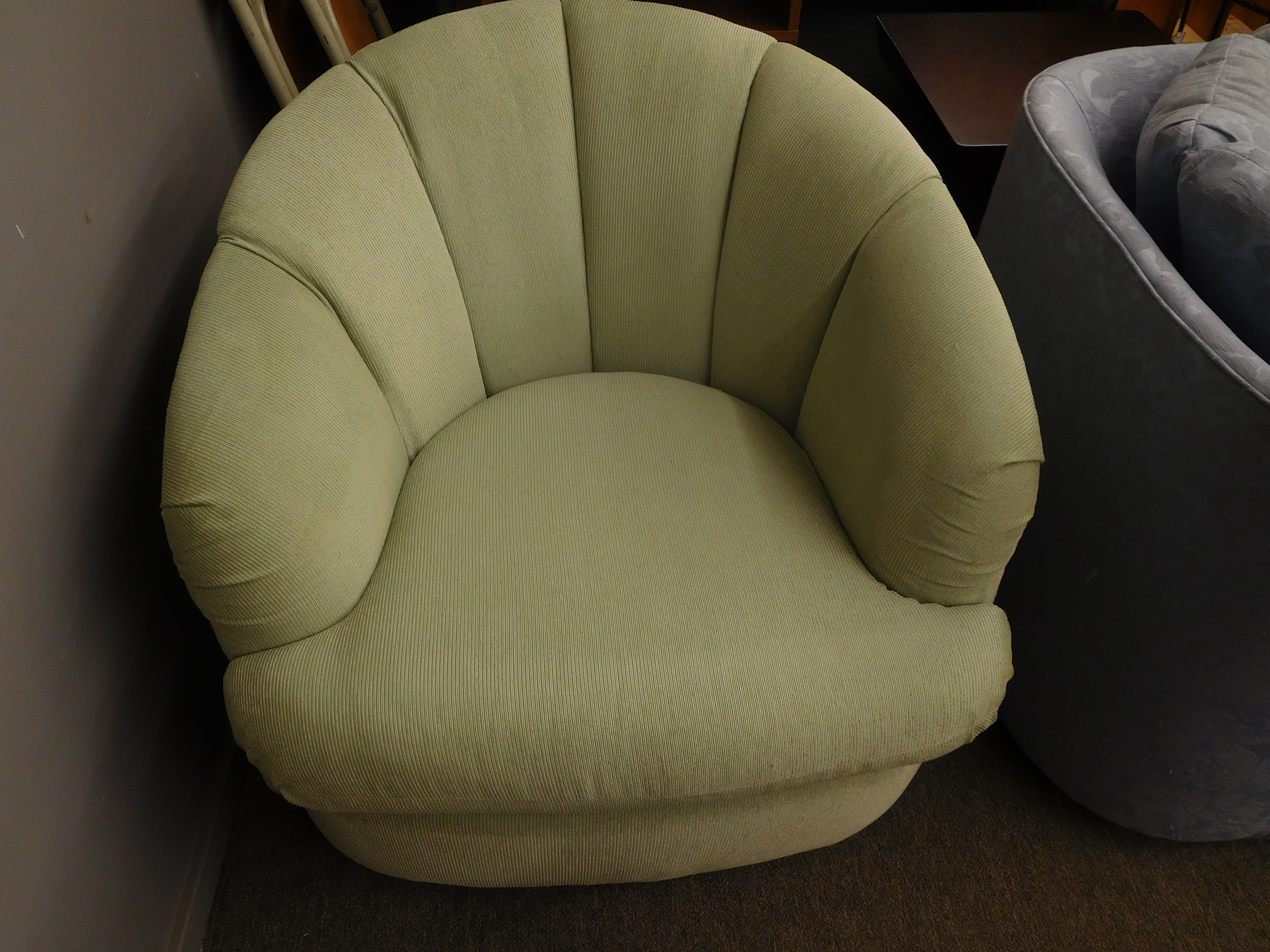 Mid Century Swivel Barrel Back Chair with Mint Colored Upholstery