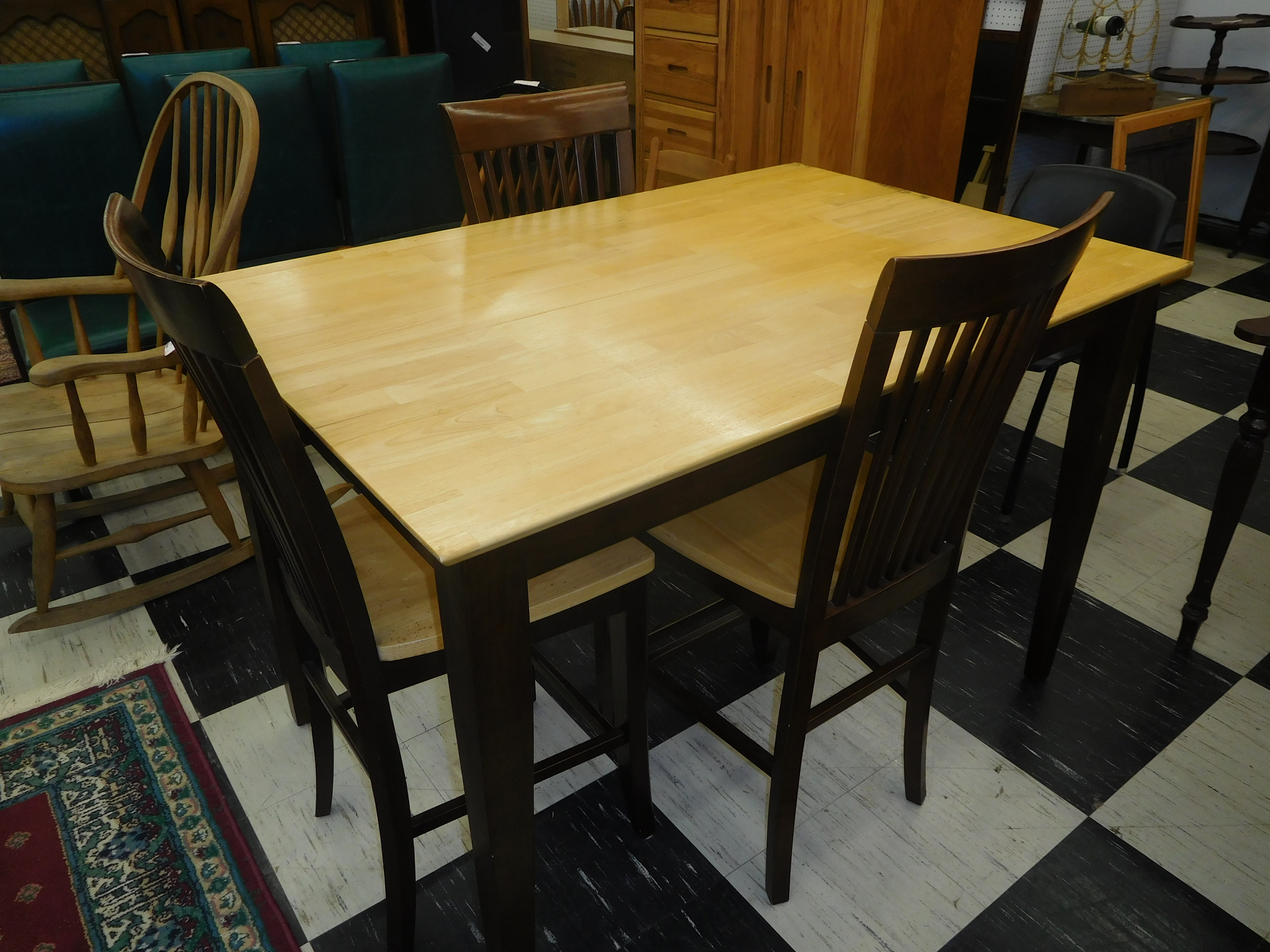 Pub Style Dining Table w/ 4 Matching Slat Back Chairs
