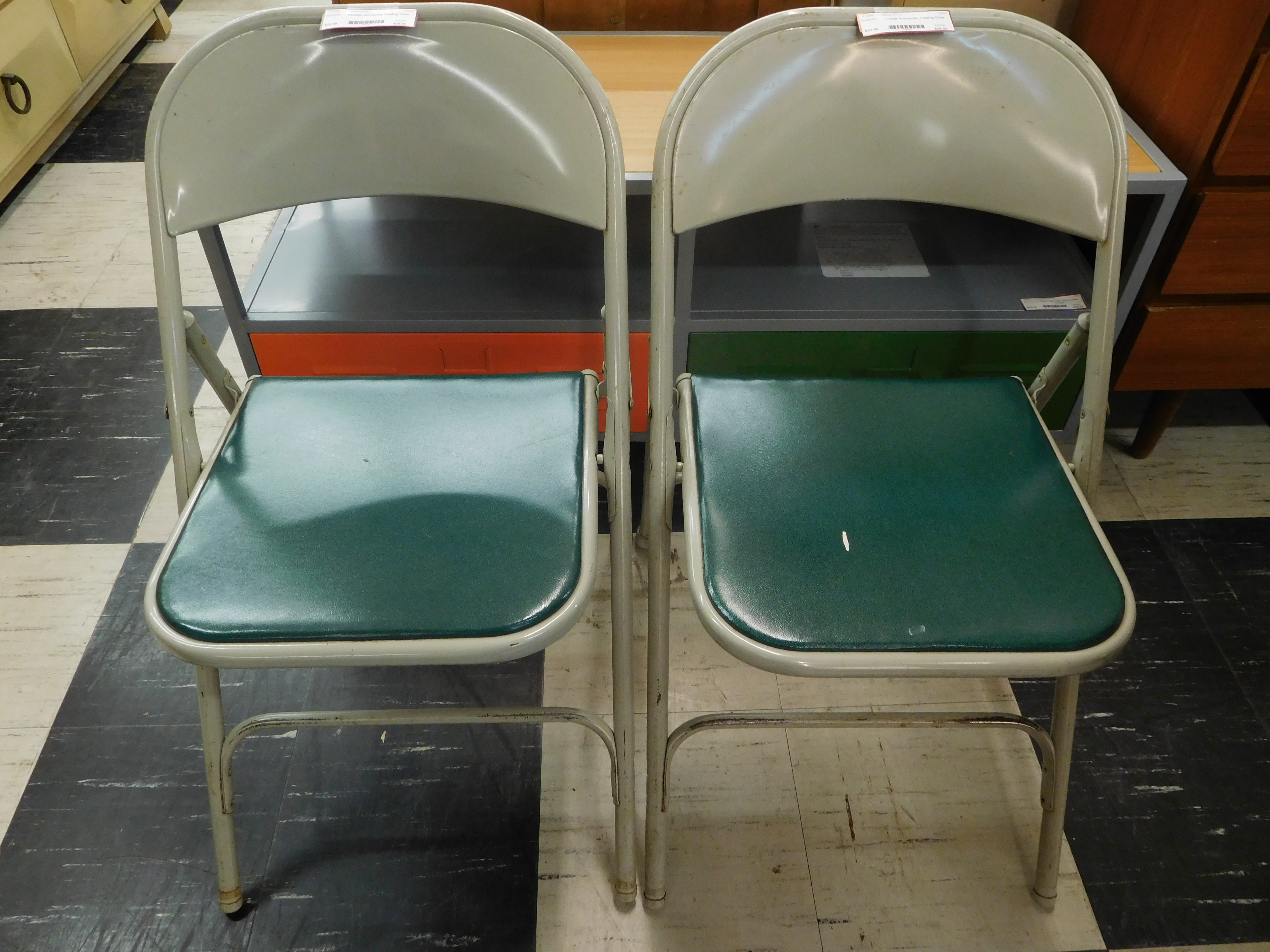 Vintage Samsonite Grey Metal Folding Chair w/ Green Padded Seat