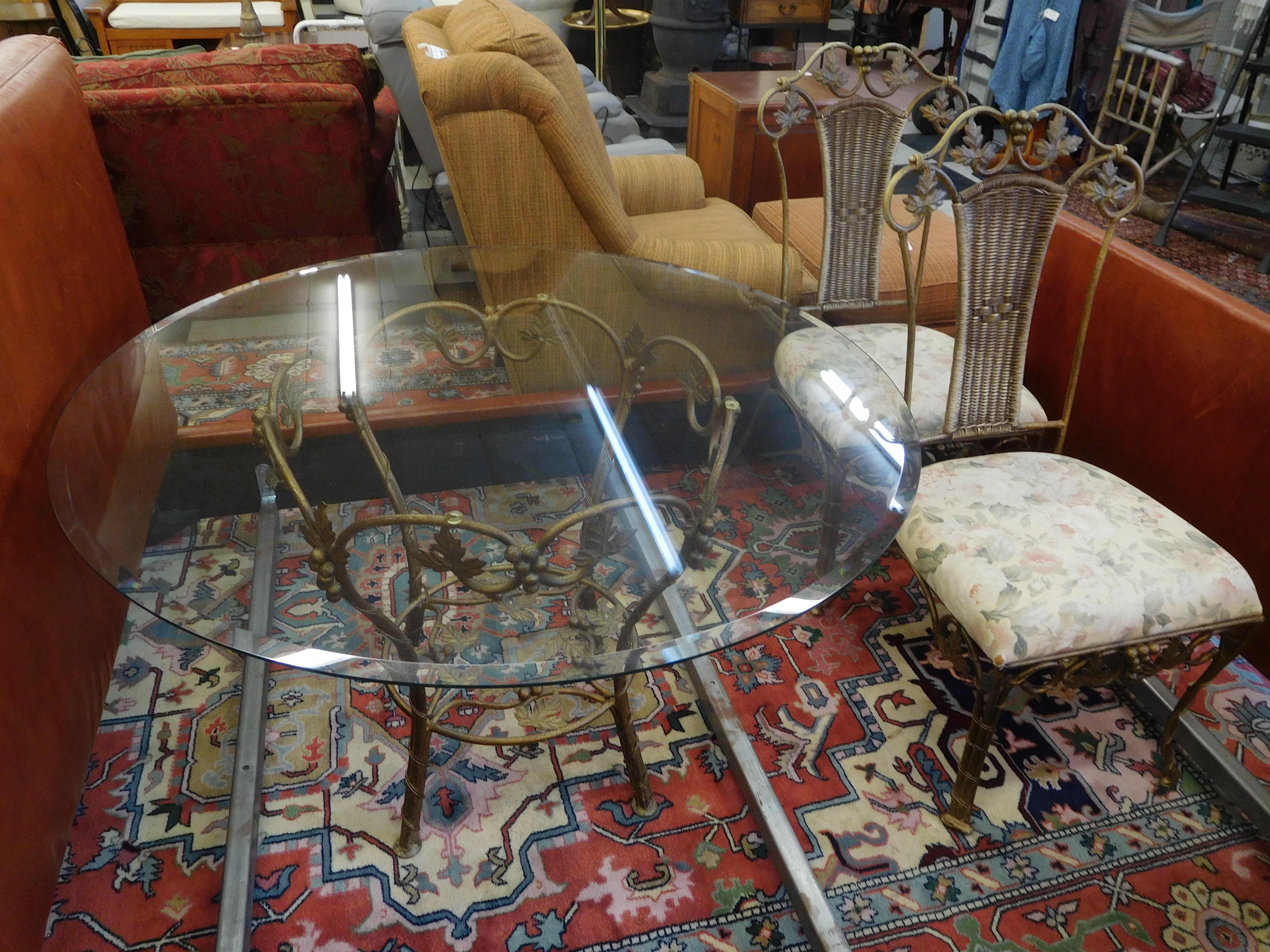 Glass Top Table with Gold Leafed Wrought Iron Base and 4 Chairs
