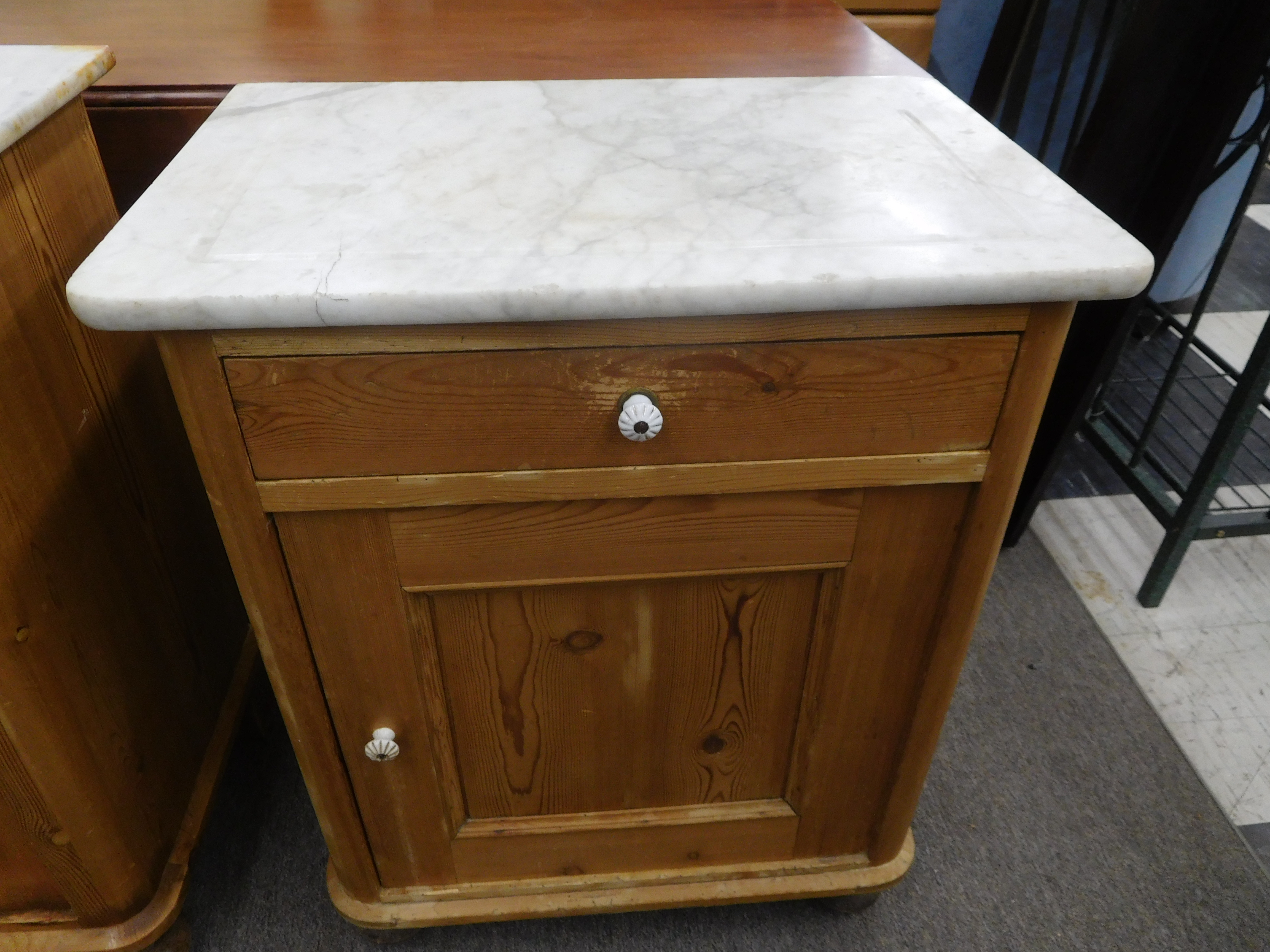 Turn of the Century English Scrub Pine Night Stand w/ Marble Top