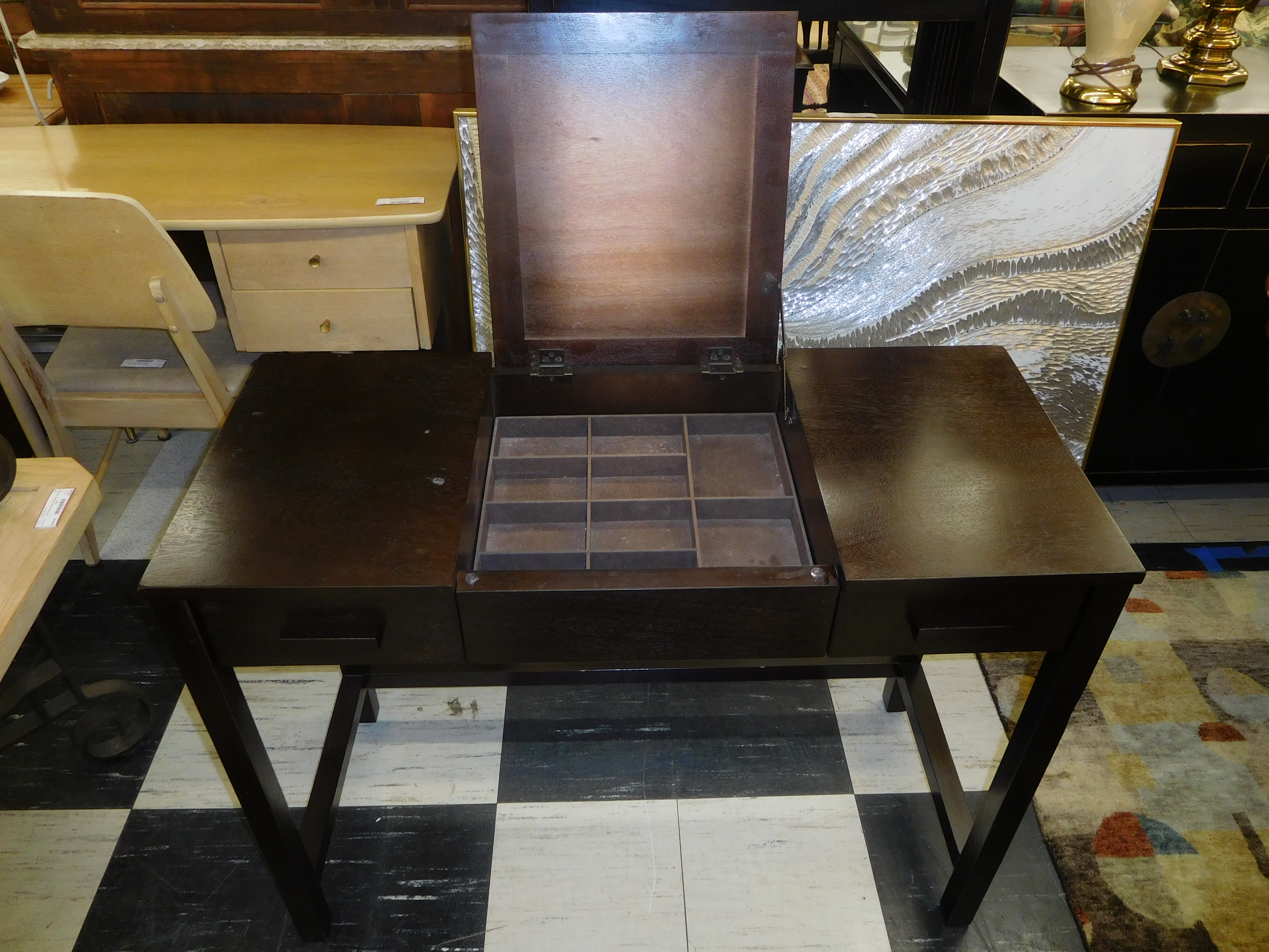 Modern Dark Wood Dressing Table/Vanity (Needs new mirror glass)