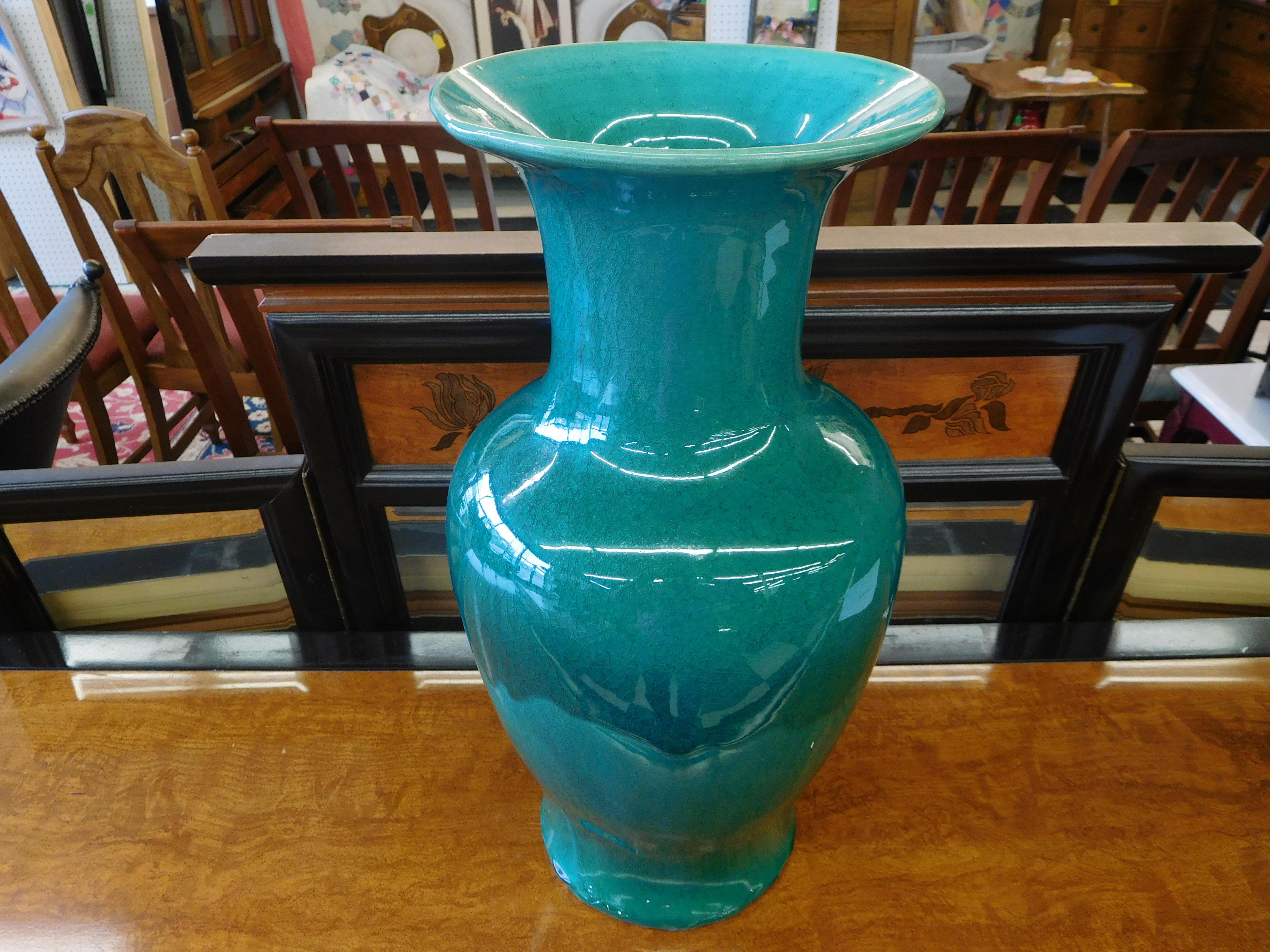 Large Teal Green Crackle Vase