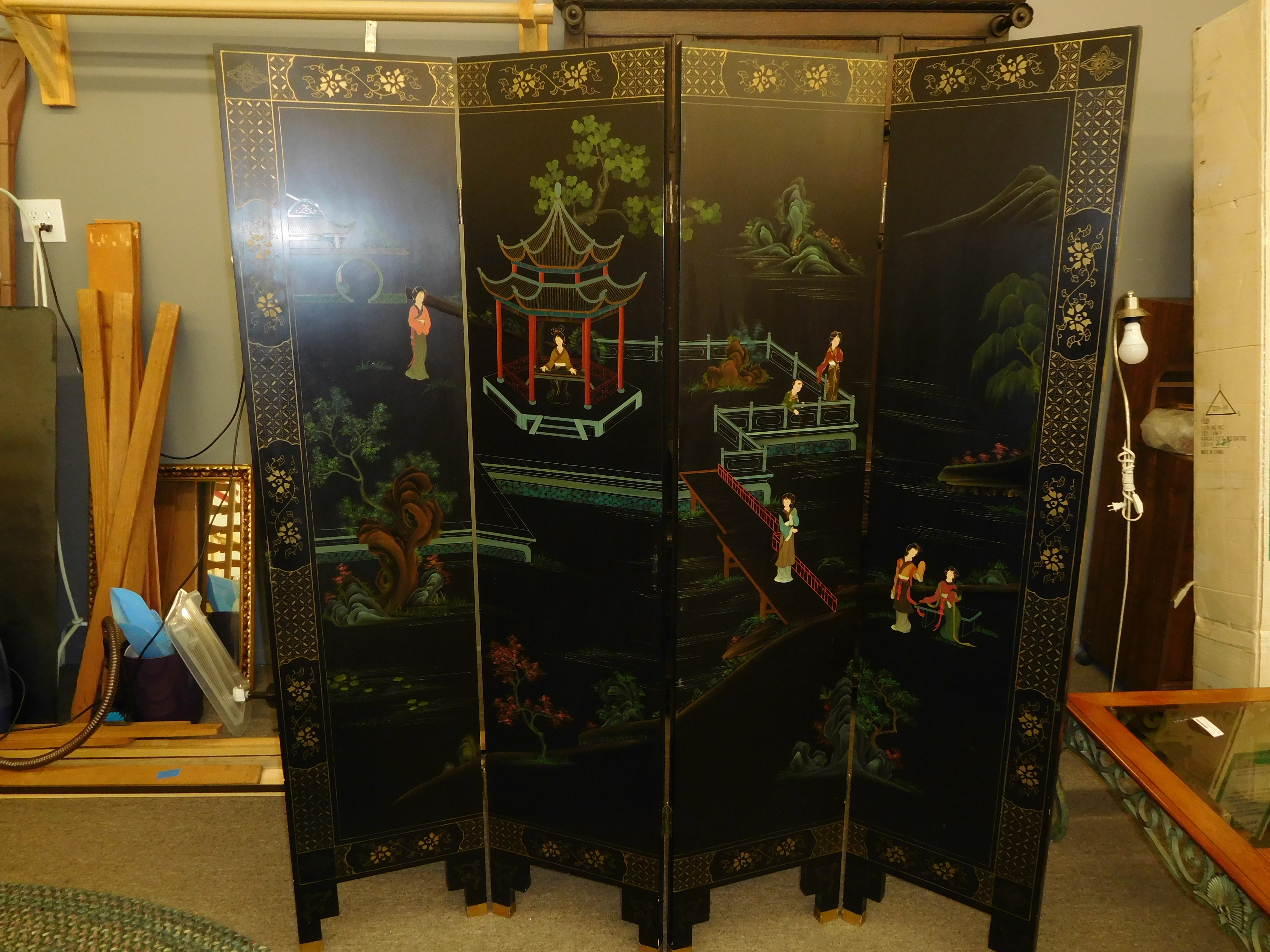 Vintage Asian Folding Screen/Room Divider - Black Painted Wood with Brass Hardware
