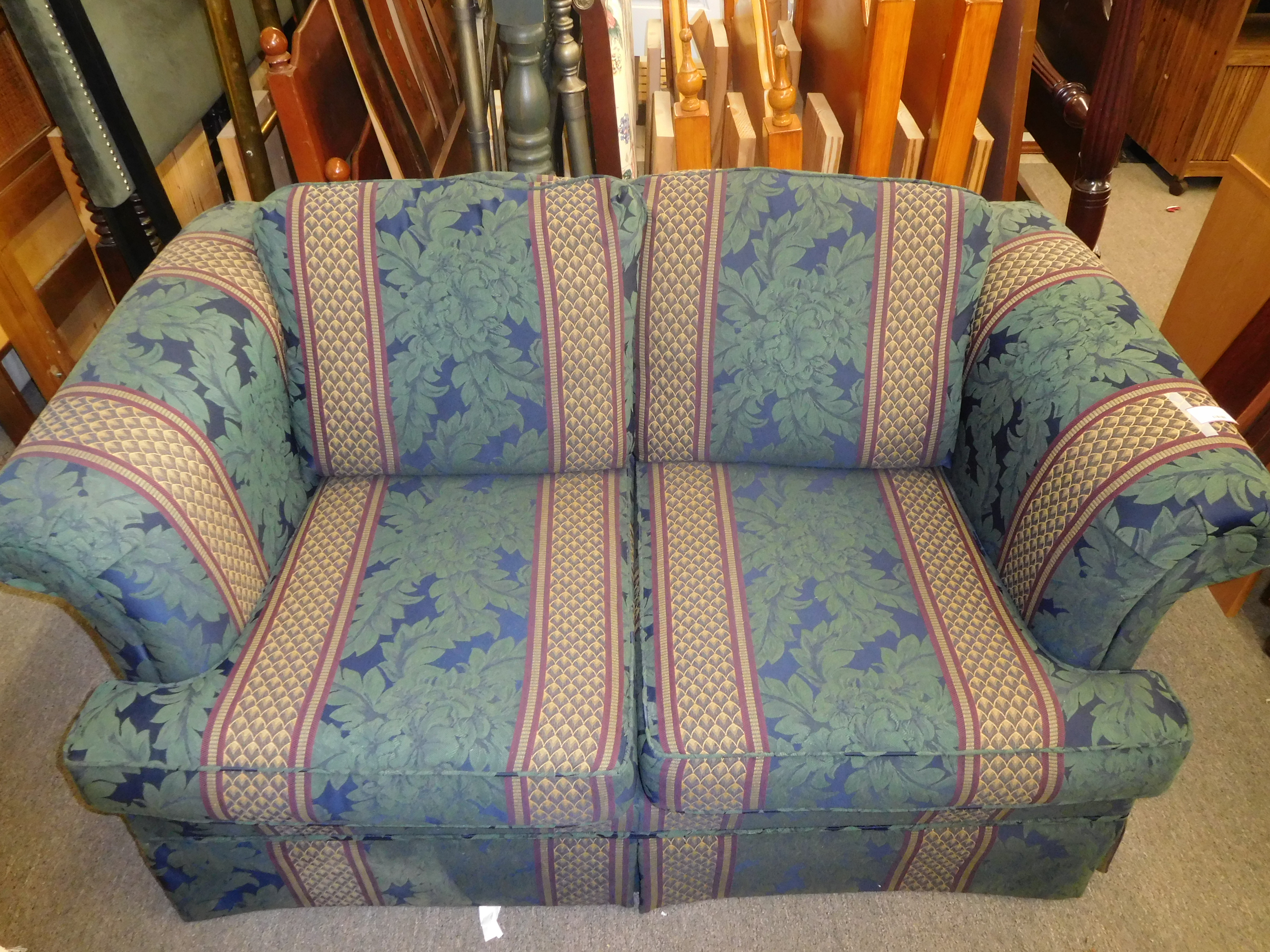 Green Floral and Wide-Striped Loveseat