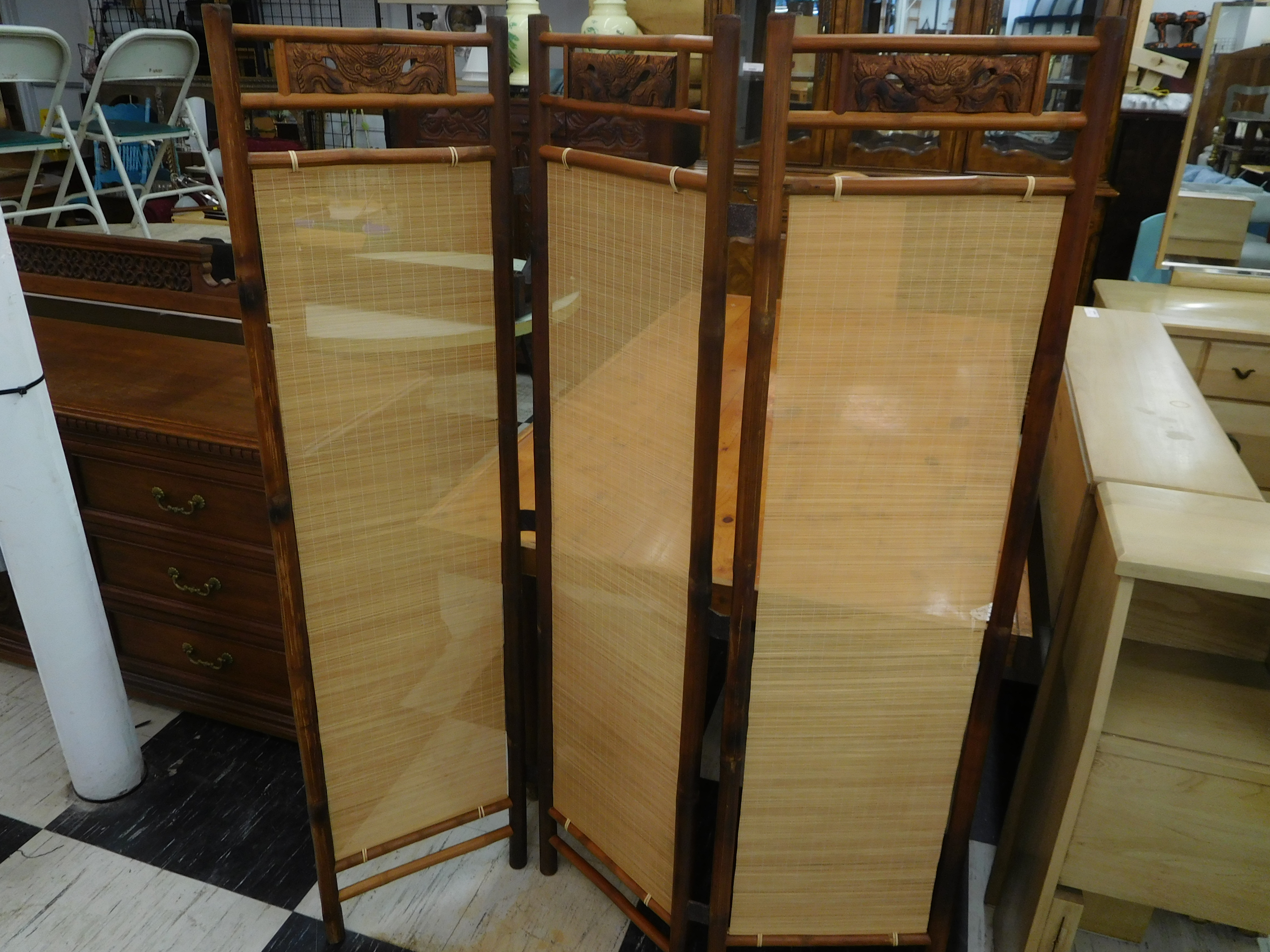 Vintage Vietnamese Bamboo 3-Panel Folding Screen