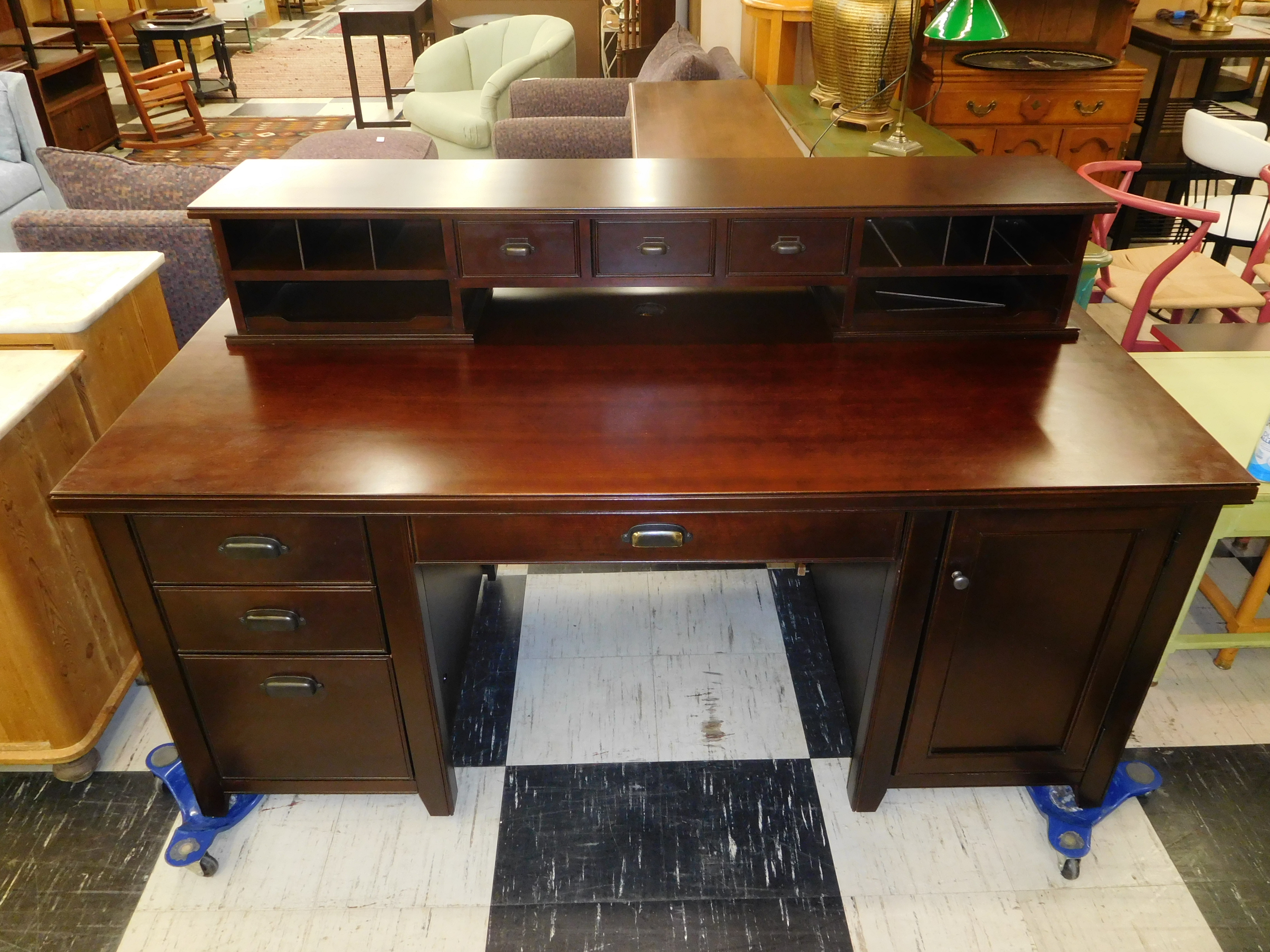 Martin Furniture Executive Desk with Storage Hutch