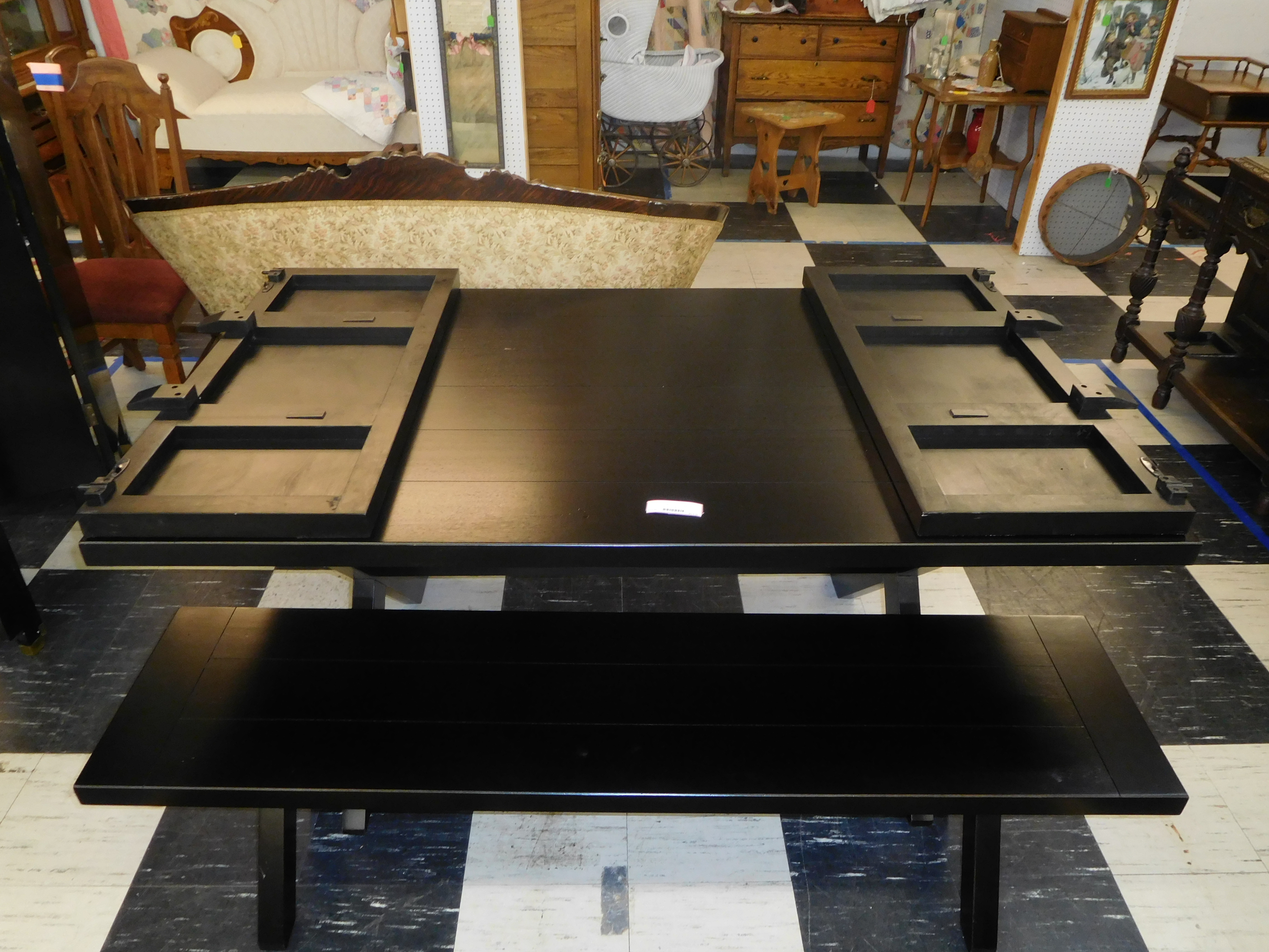 Black Farm-Style Dining Table with Matching Bench