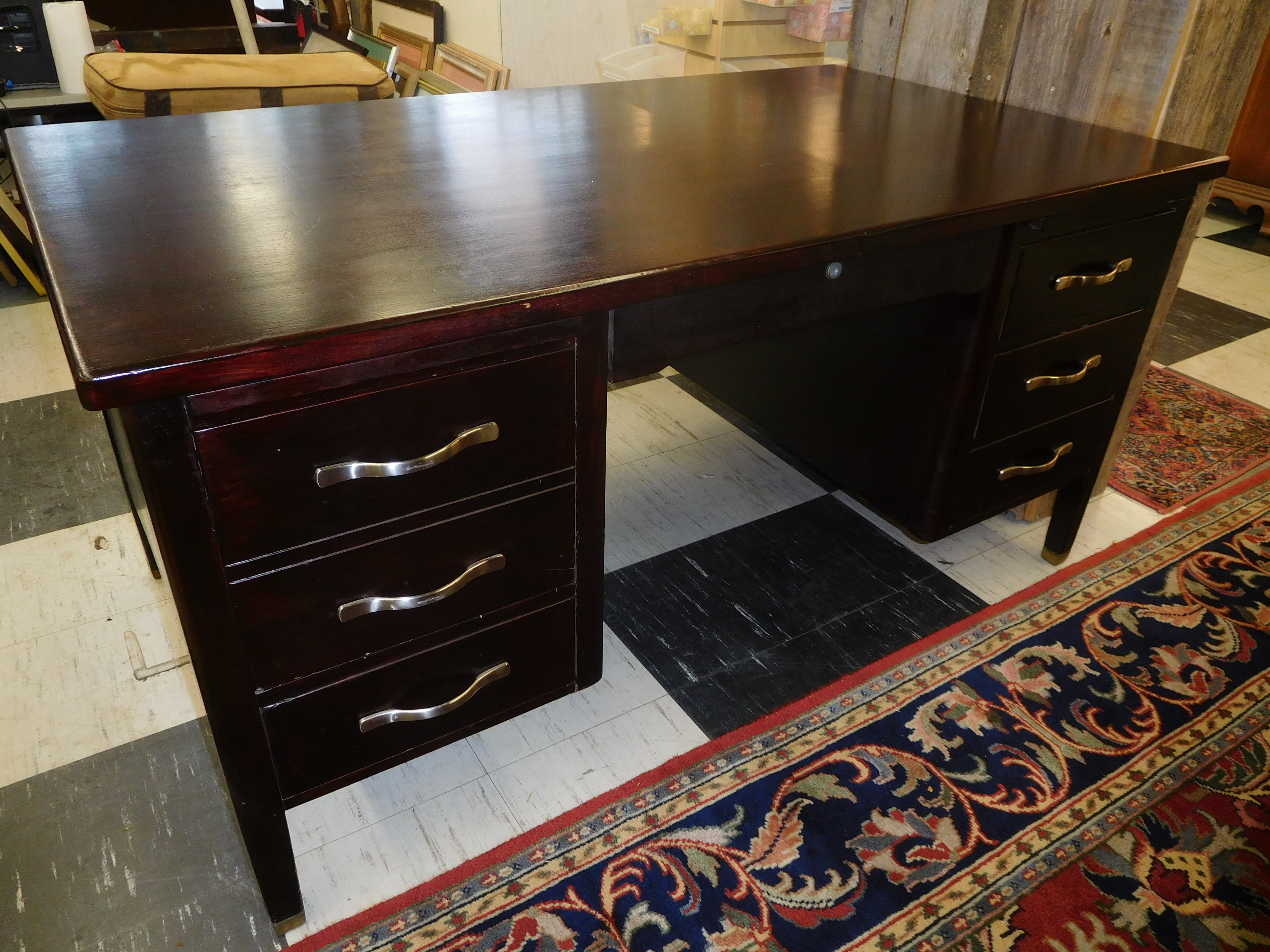 Vintage Dark-Stained Solid Mahogany Desk