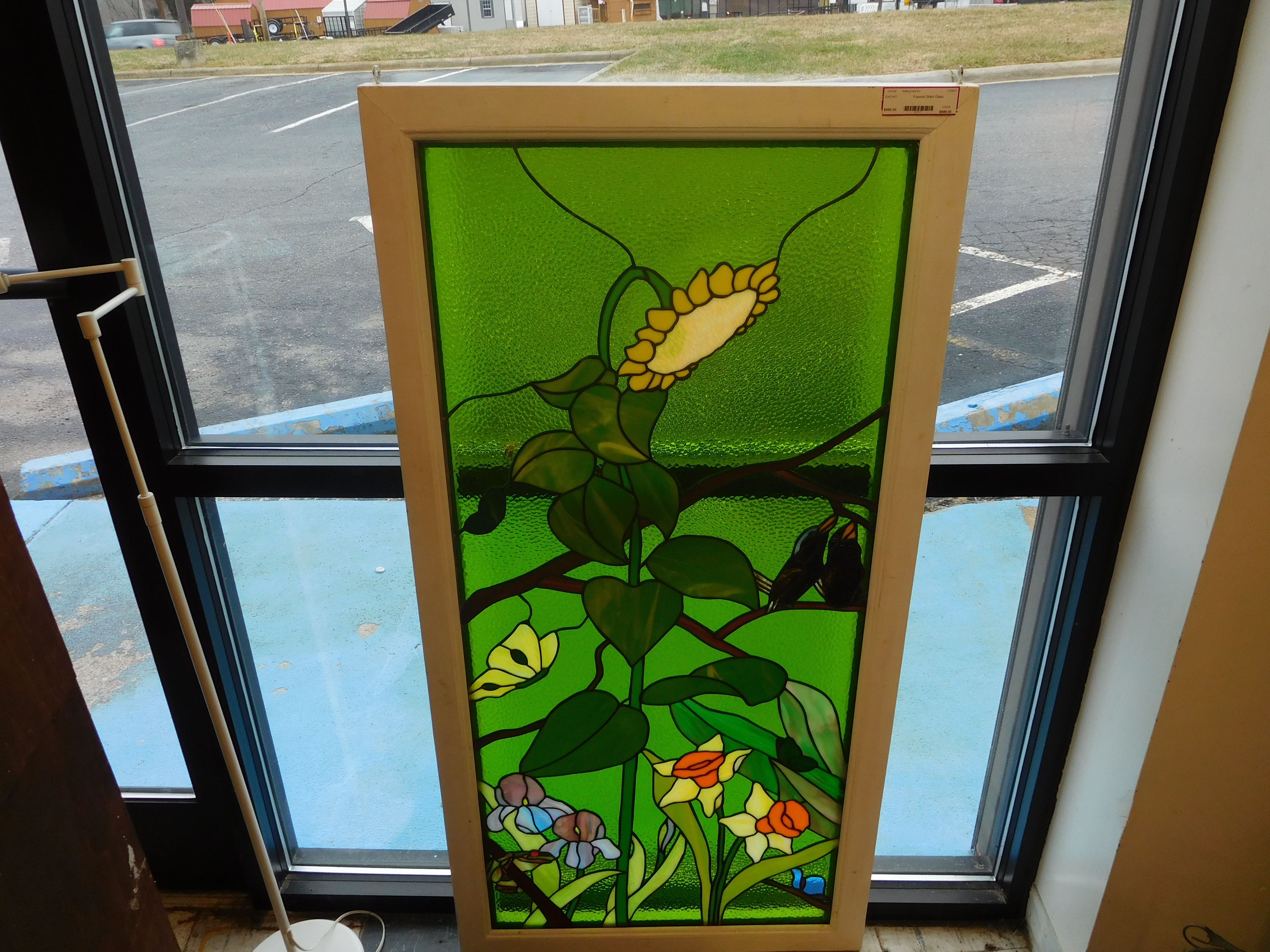 Brilliant Green Stained Glass Floral Art in White Frame