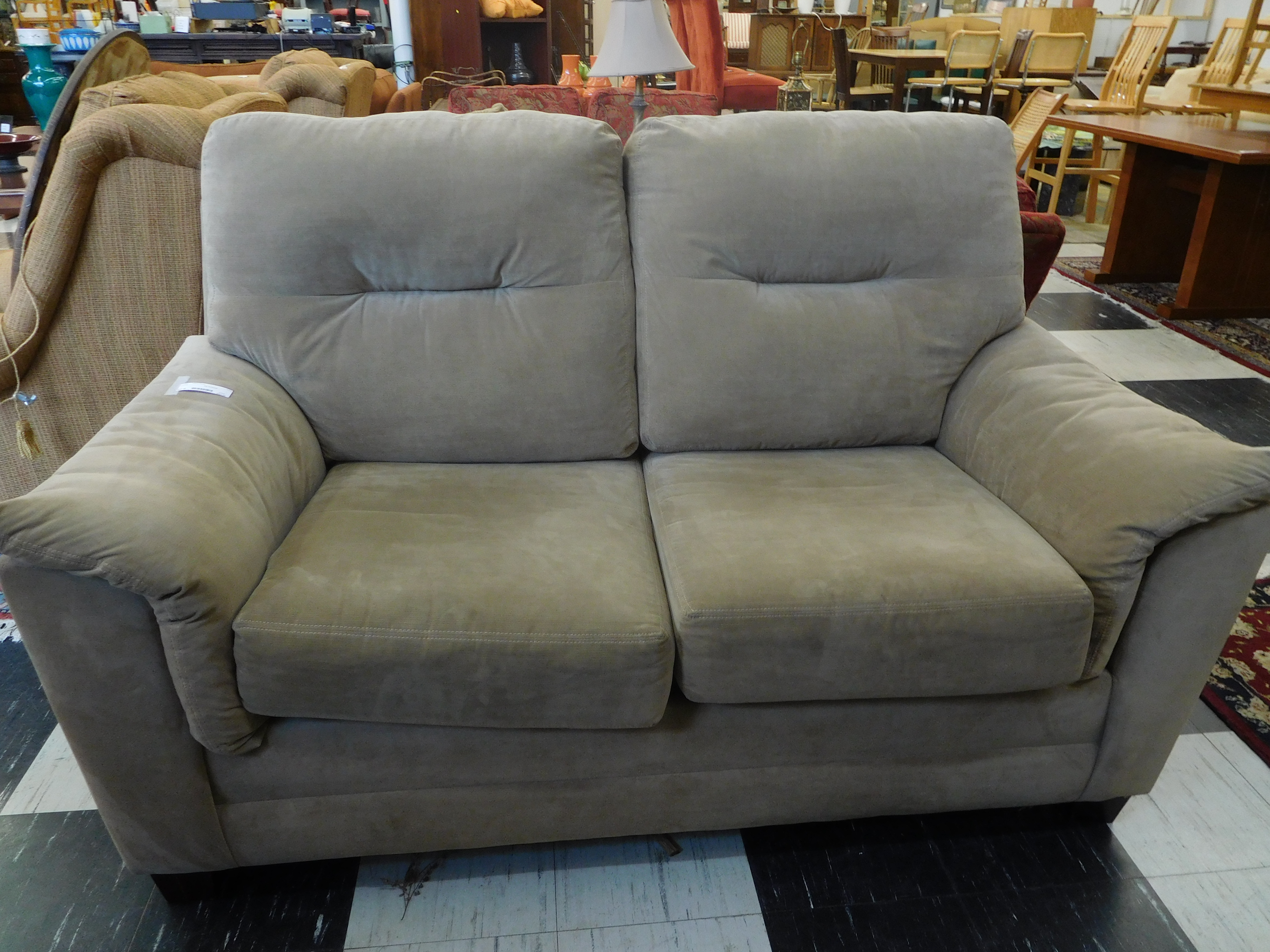 Tan Micro-Suede Loveseat