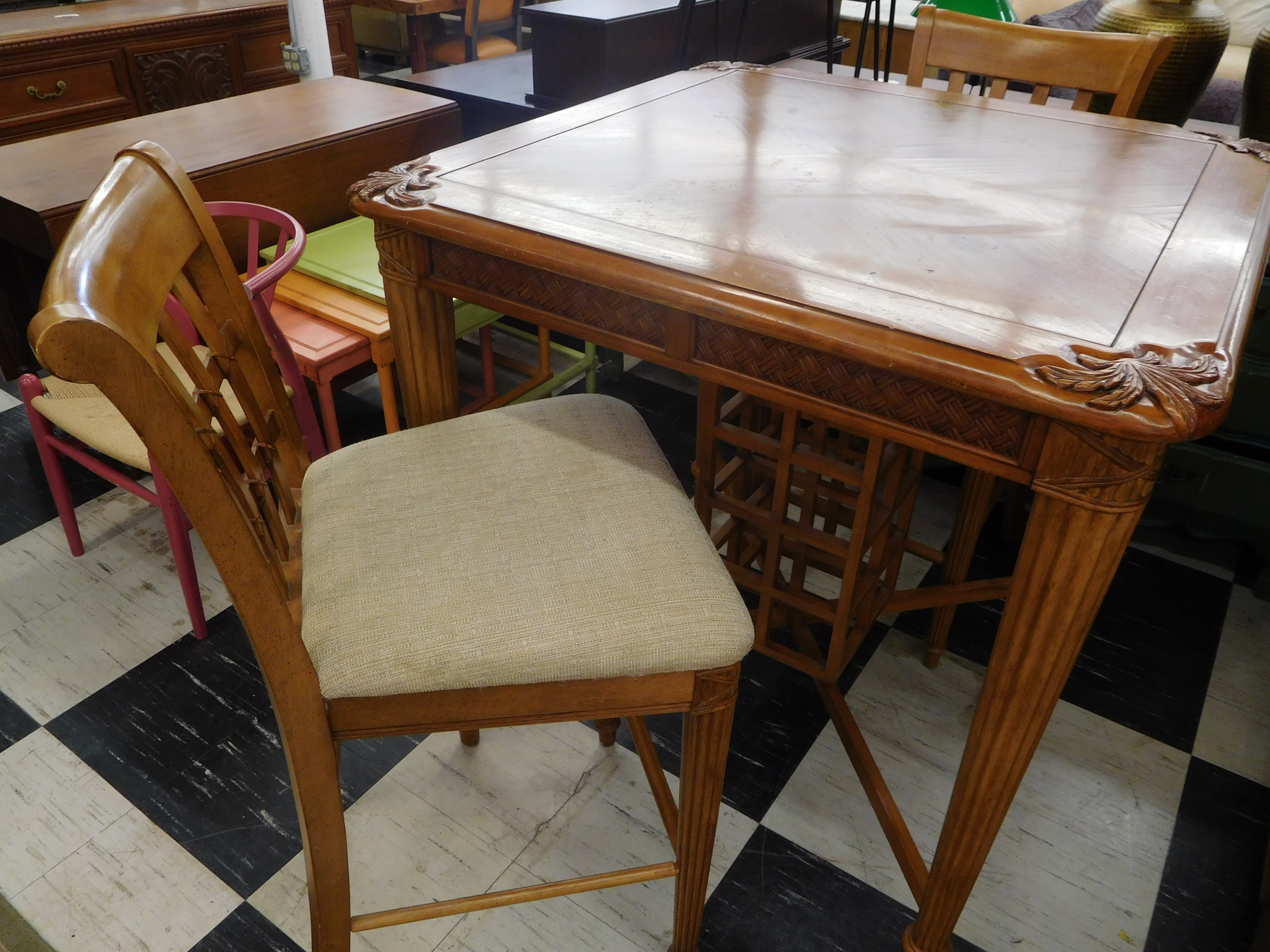 Pub Height Table with 2 Chairs and Built-in Wine Rack