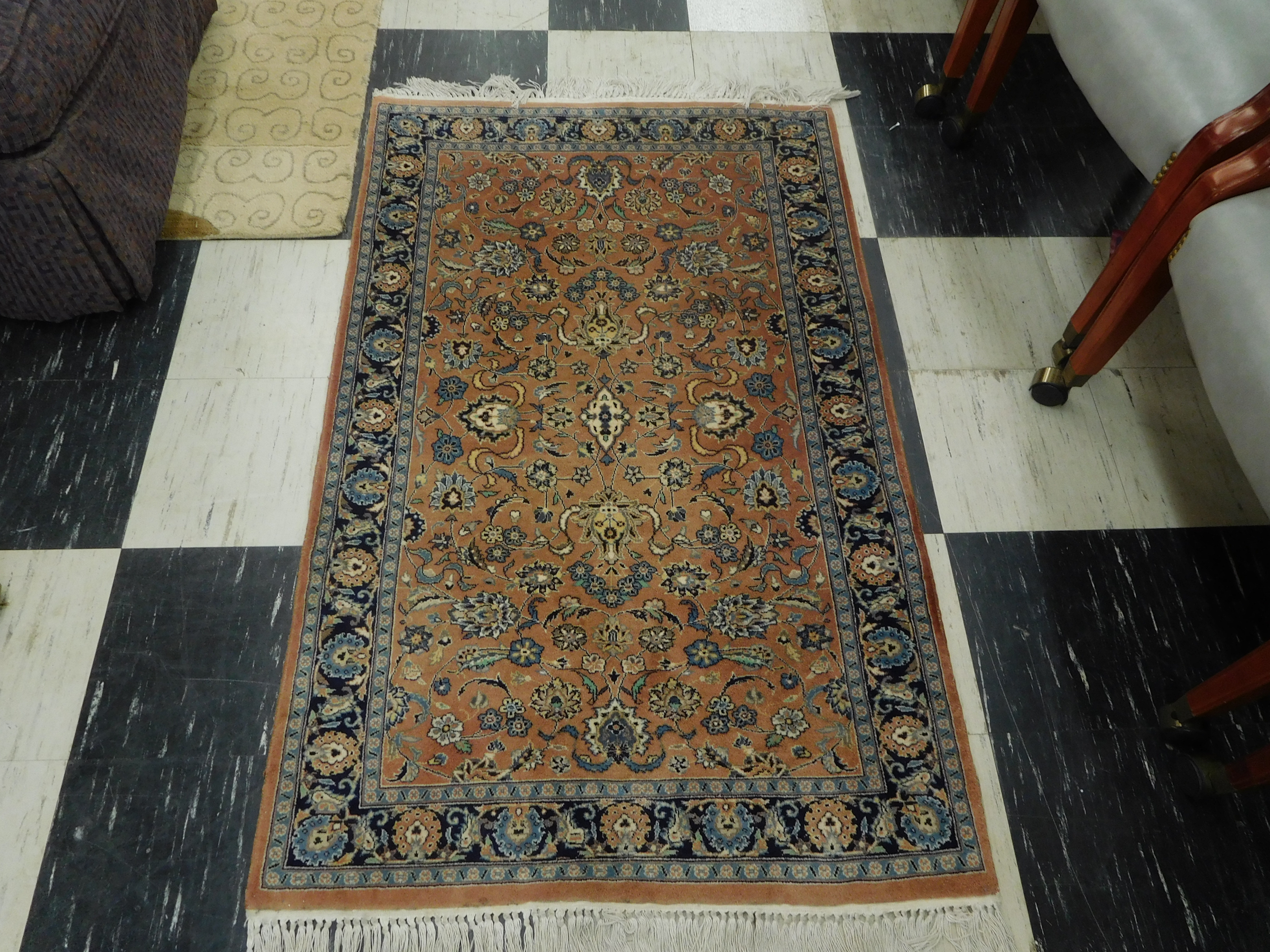 Blue and Brown Vintage Hand Knotted Silk and Wool Rug