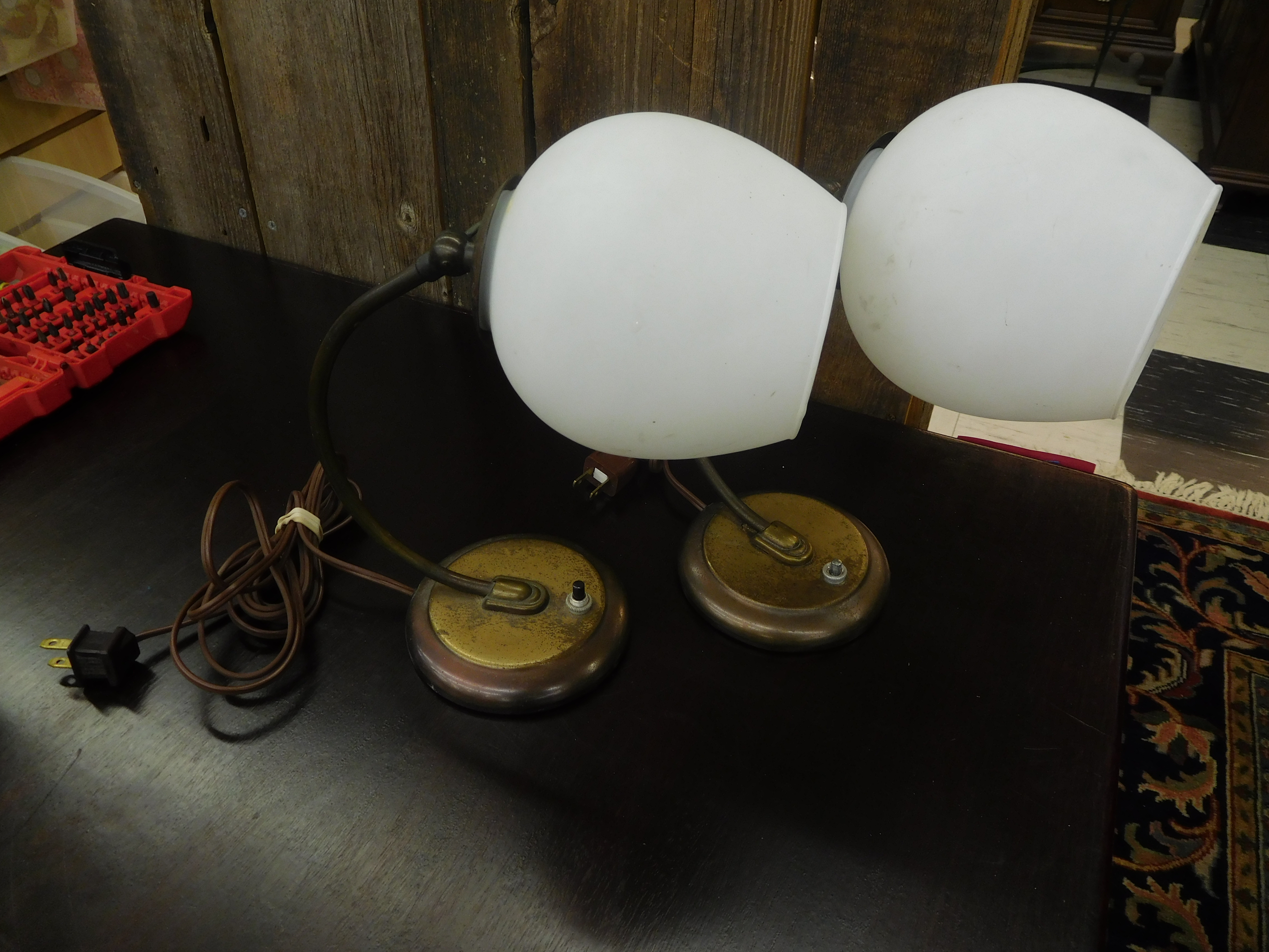 Vintage Gooseneck Table Lamp with Metal Base and White Globe