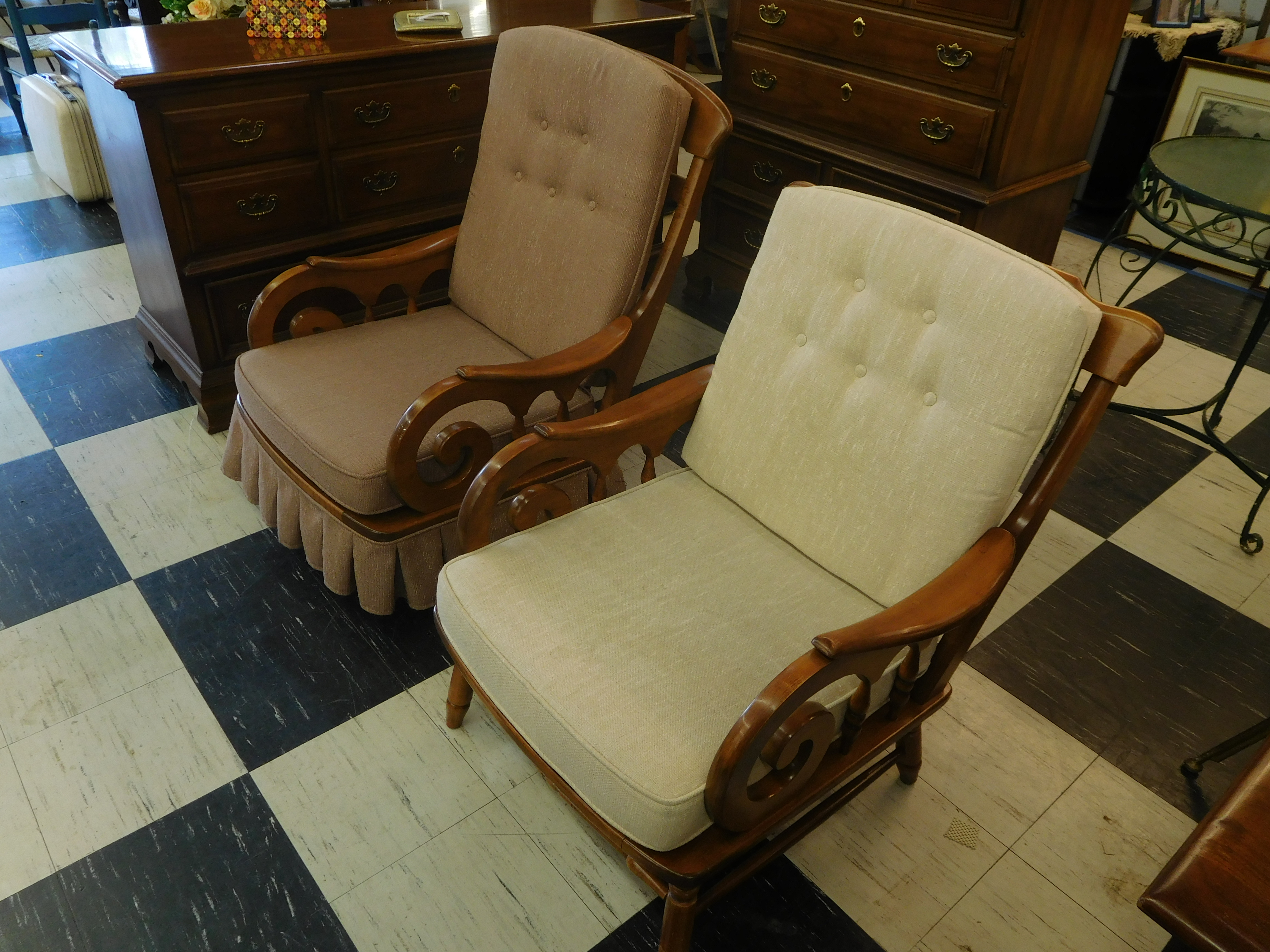 Heywood-Wakefield Maple Lounge Chair, Cream