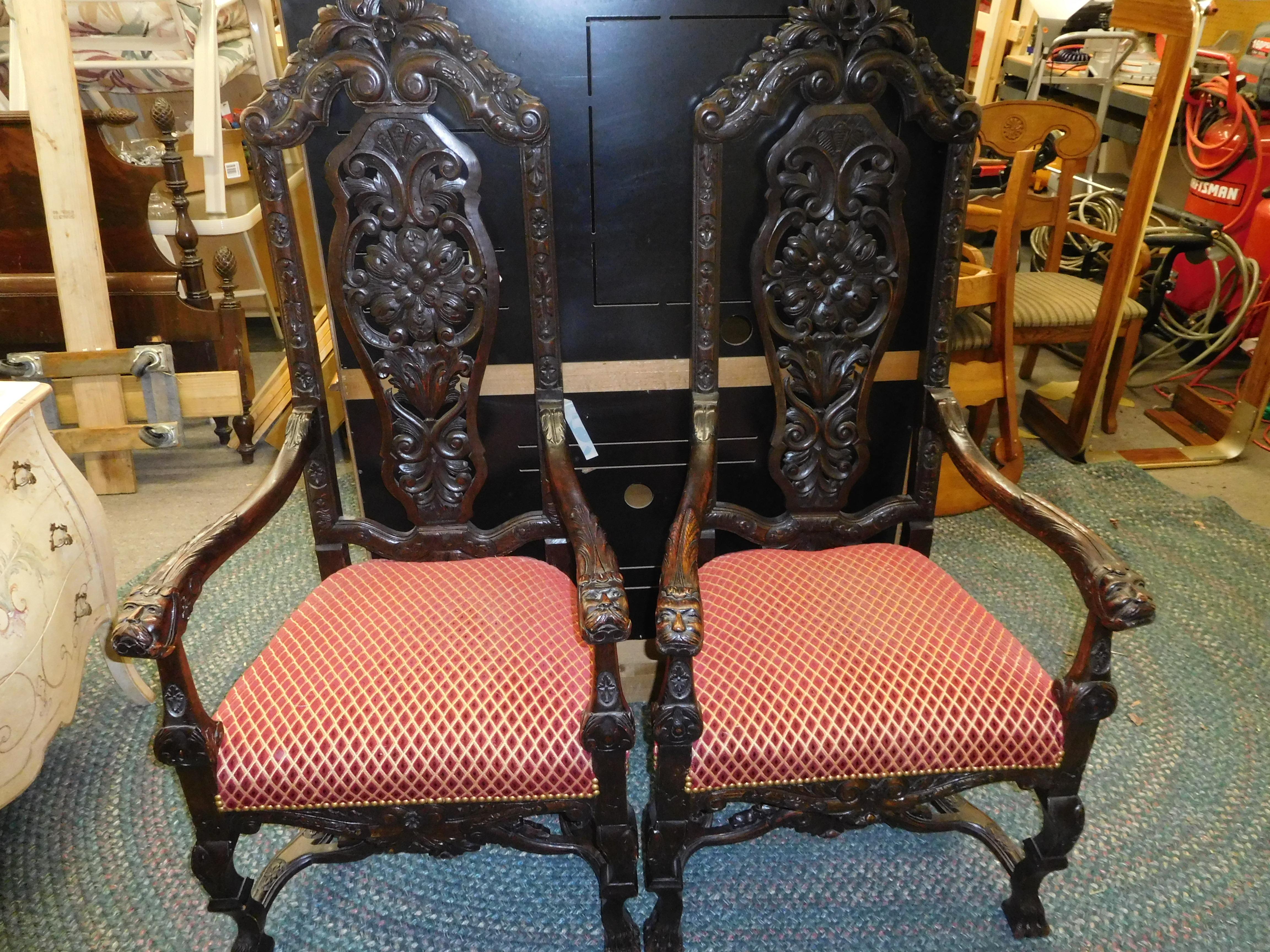 19th Century French Brittany Dragon Oak Chair