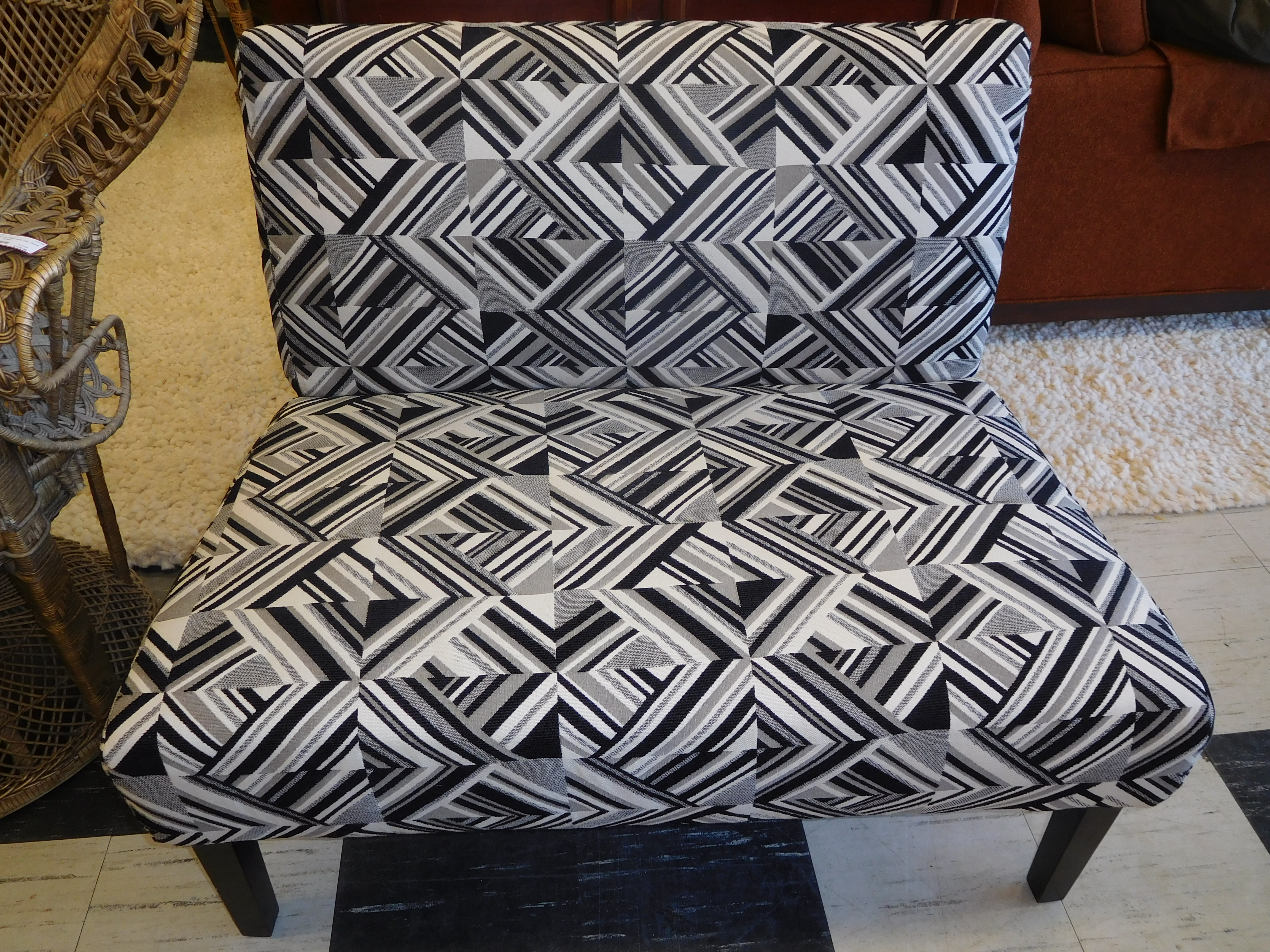 Modern Black and White Settee