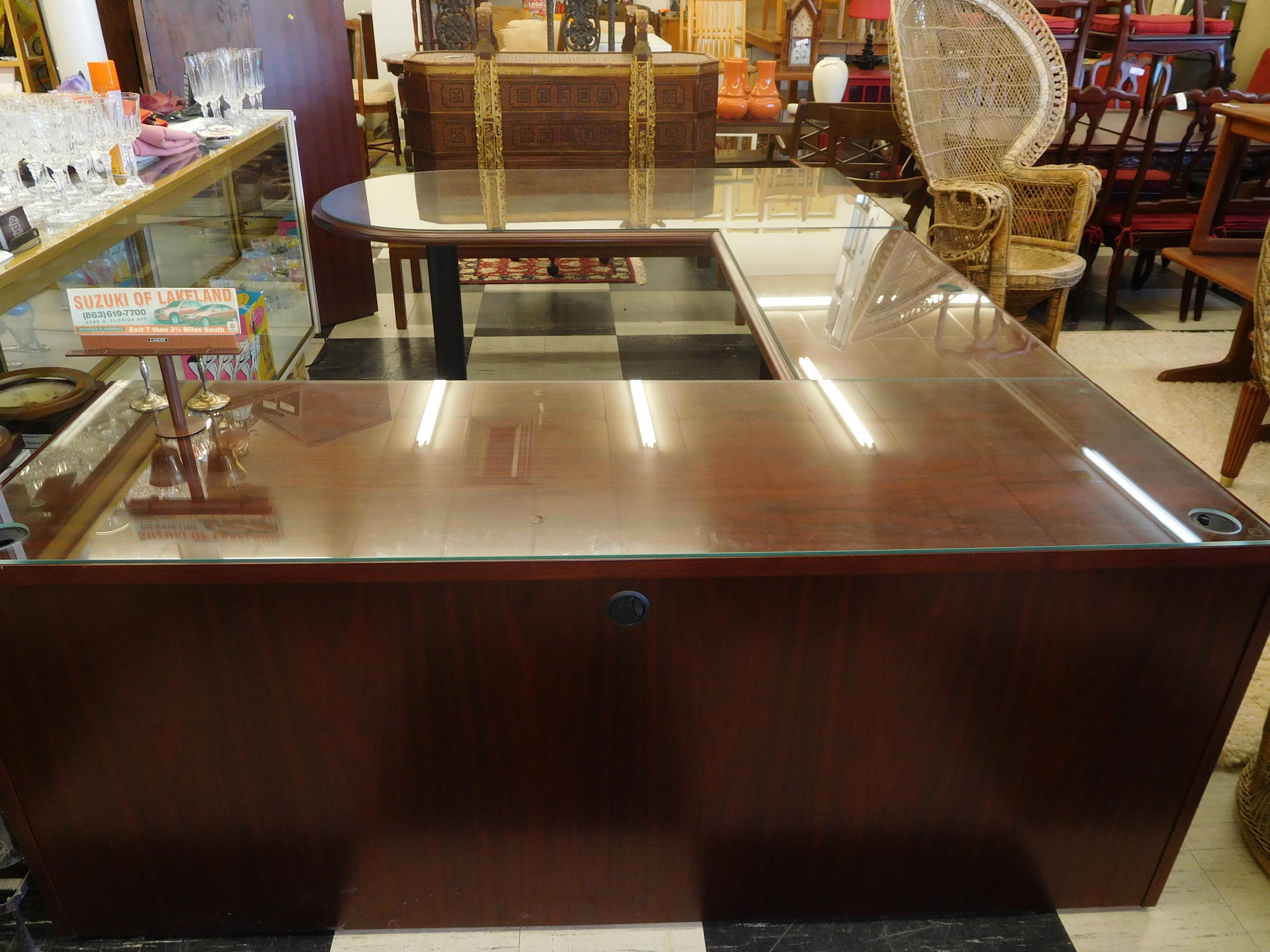 Kimball 3-Piece Mahogany U-Shaped Executive Desk