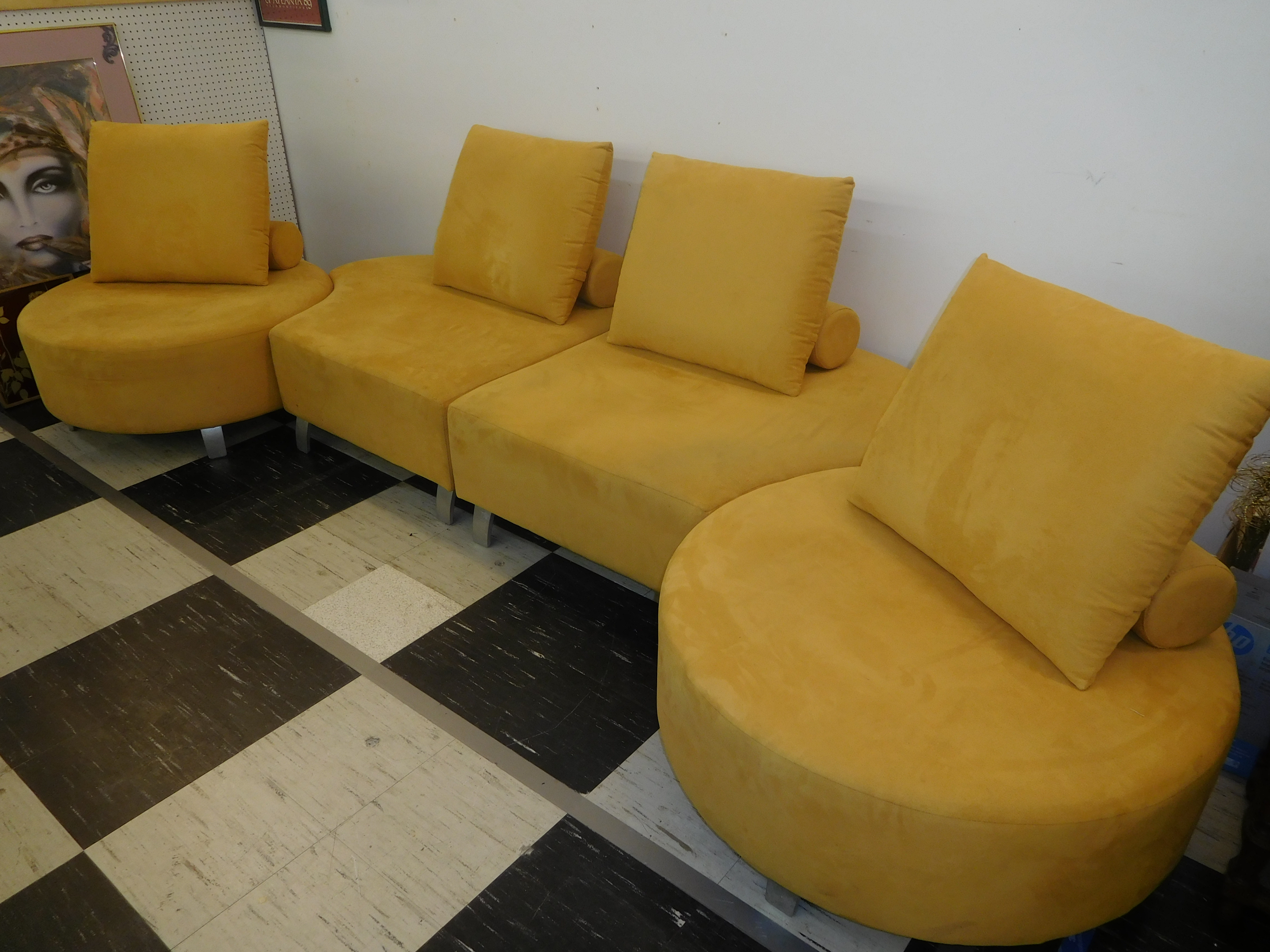Modern 4-Piece Tuscan Yellow Sectional w/ Steel Legs, by Mobilia