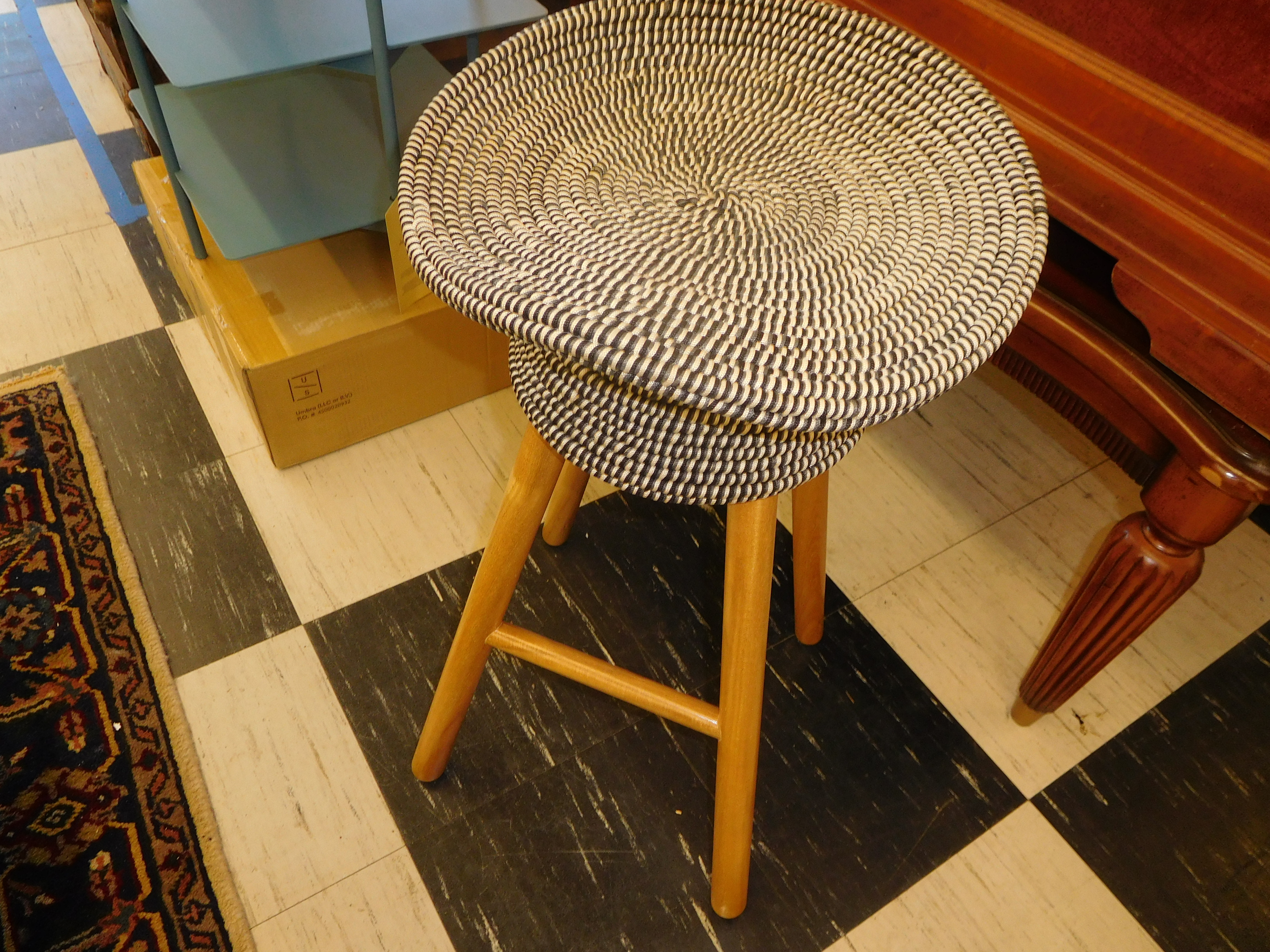 Wood Counter Stool with Grey Coiled Weave Seat, by Harry Allen