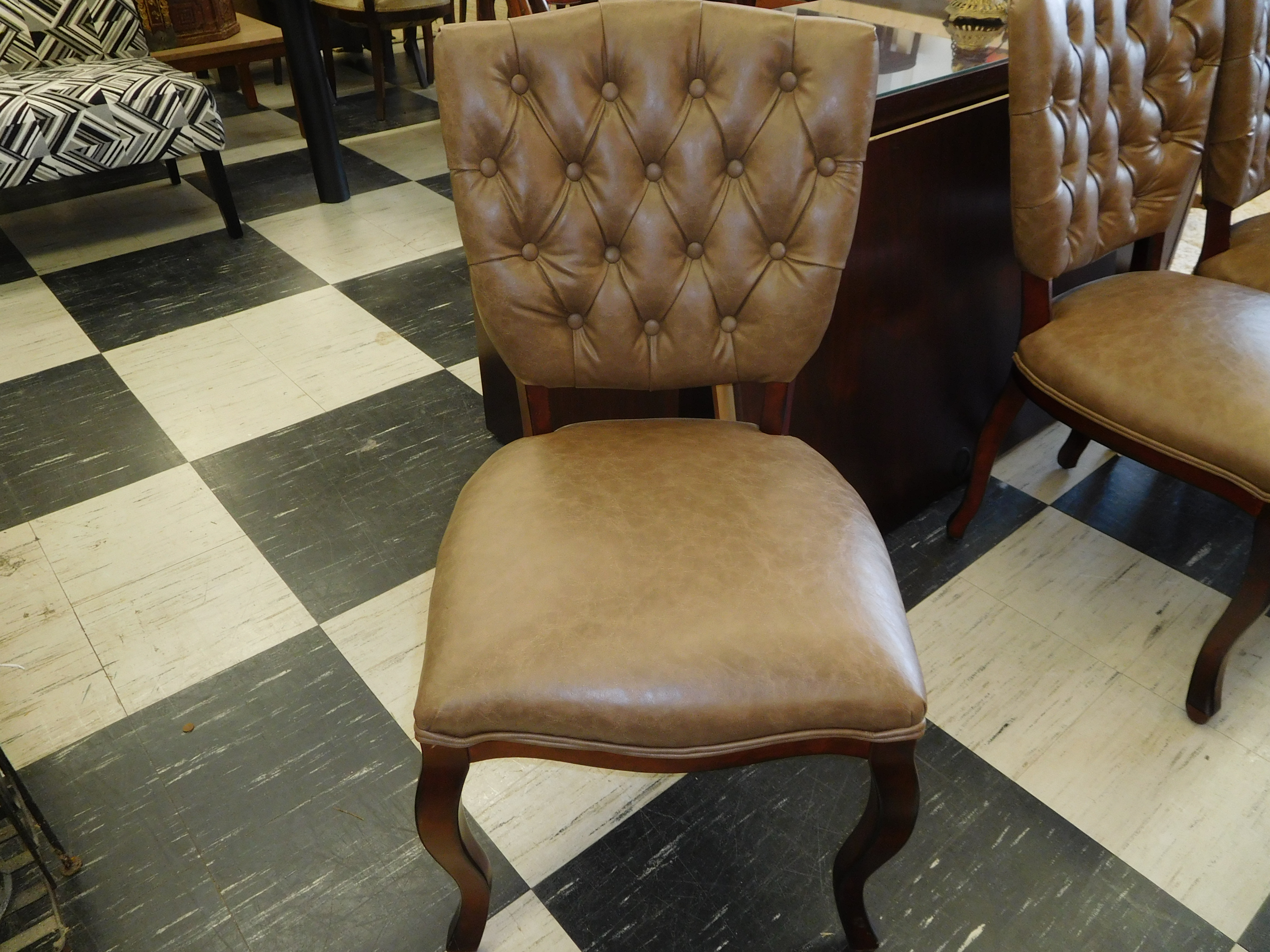 Victorian Style Tufted Dining Chair by Pier 1, Brown