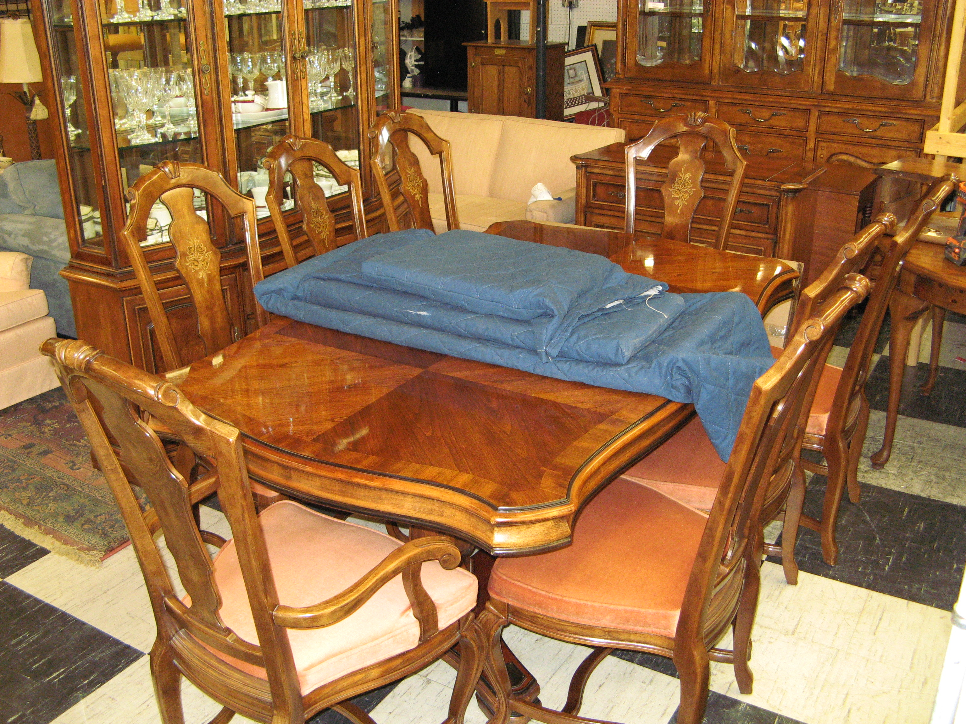 Vintage Bernhardt Flair Division Dining Table With 8 Chairs