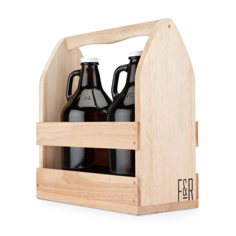 Growler Caddy - From Sustainable Rubber Wood