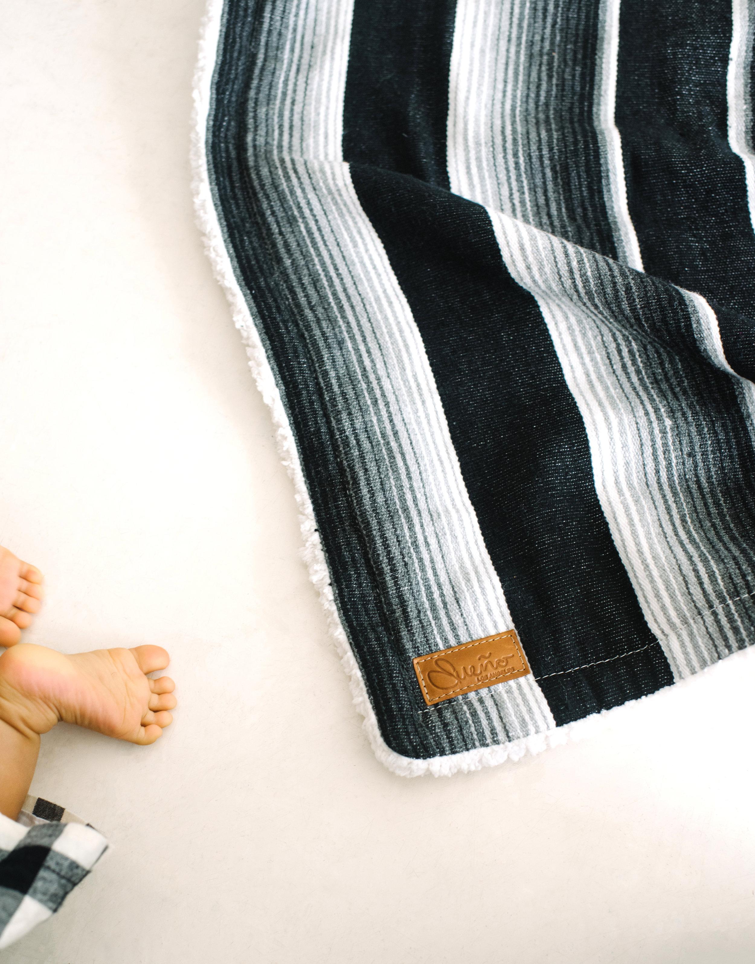 Onyx Black-Gray Serape Blanket w/ Sherpa, 40