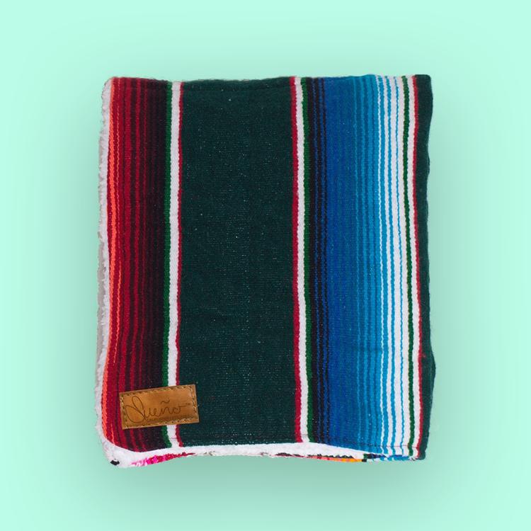 Jasper-Dark Green Serape Blanket w/Sherpa, 40