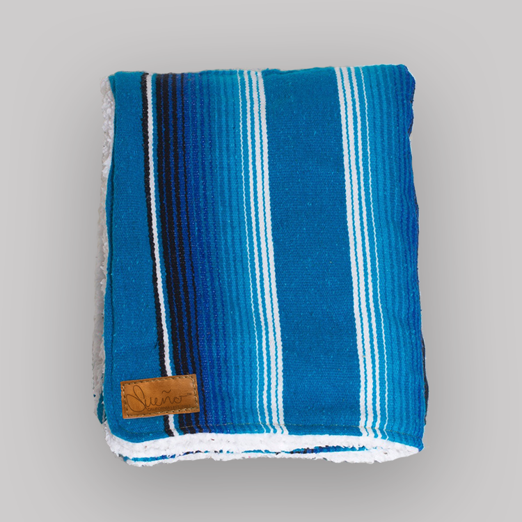 Cove-Multi-Blue Serape Blanket w/Sherpa, 40