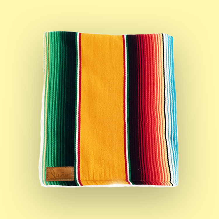Marigold-Gold Serape Blanket w/Sherpa, 40