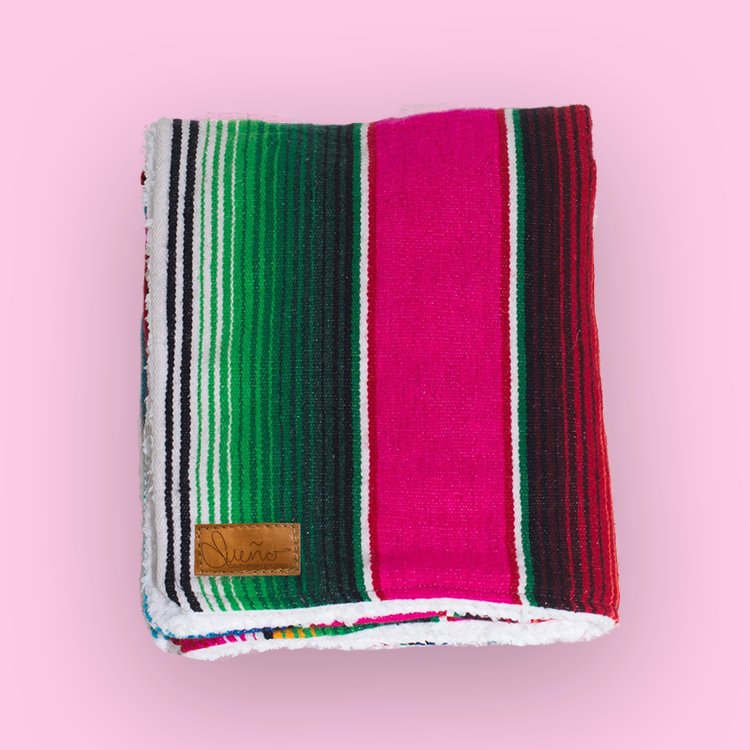 Meadow-Dark Pink Serape Blanket w/ Sherpa, 40