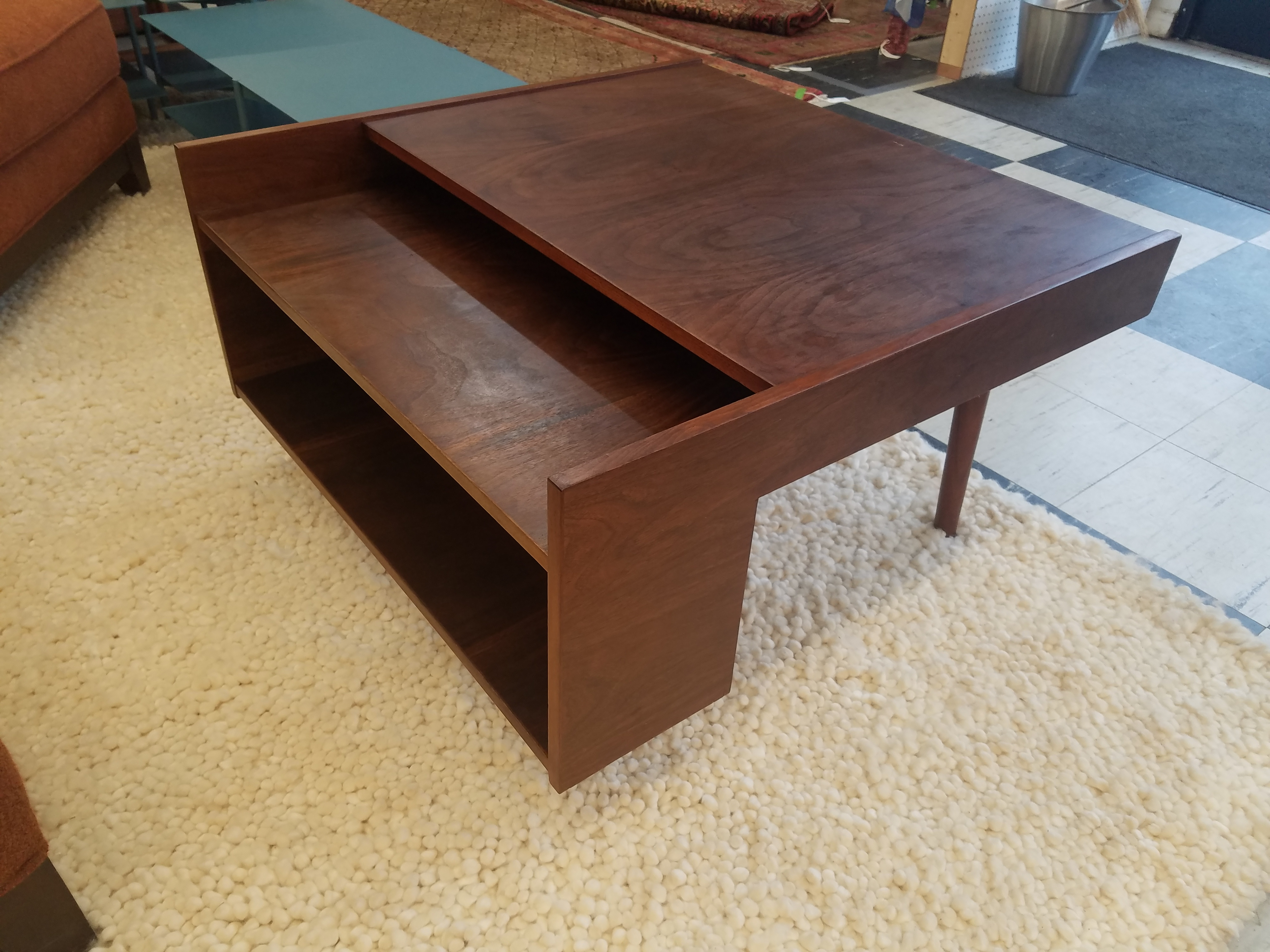 Mid Century Walnut Coffee Table with Book Shelf