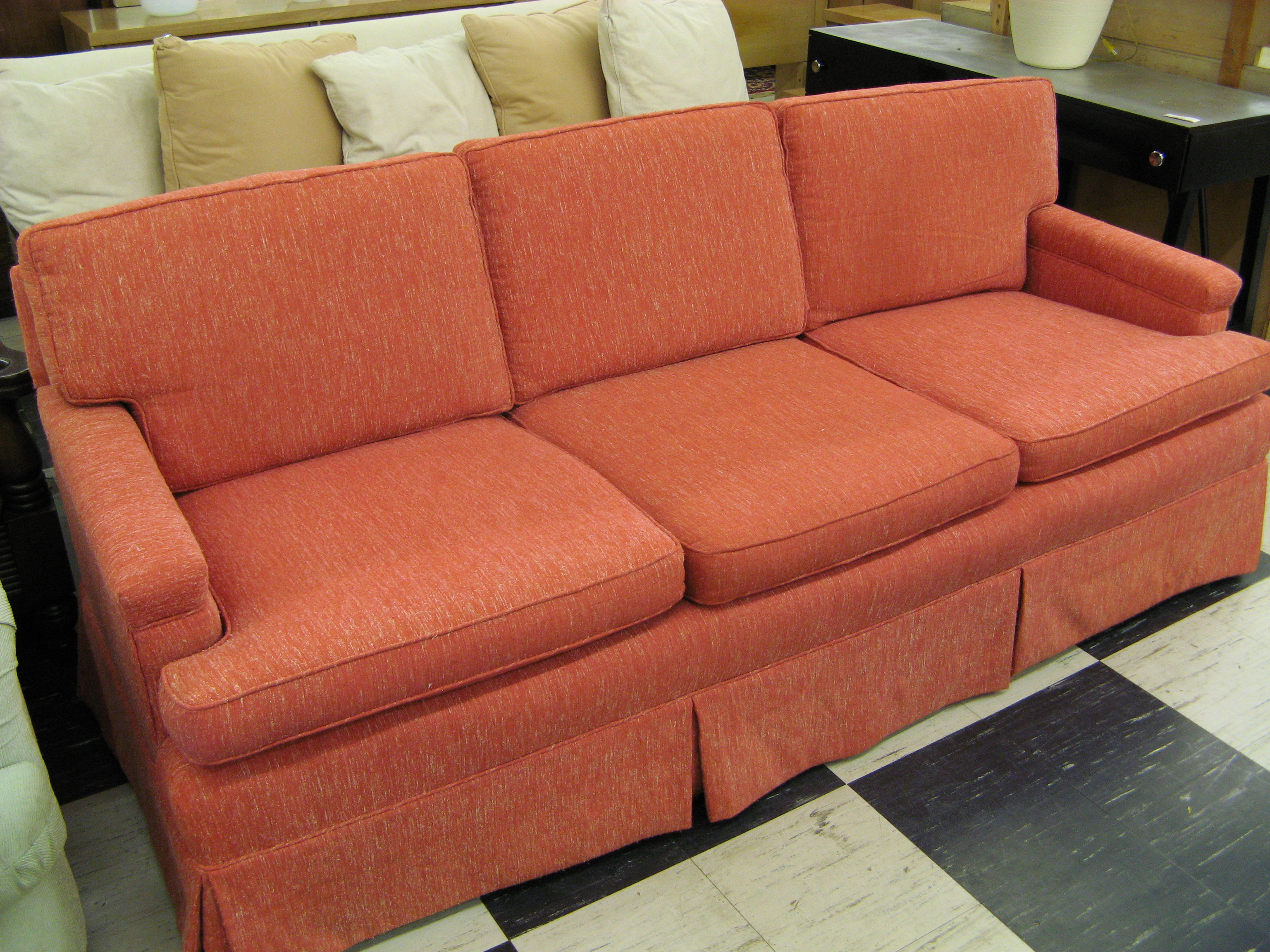 Mid Century Modern Upholstered Sofa with Casters