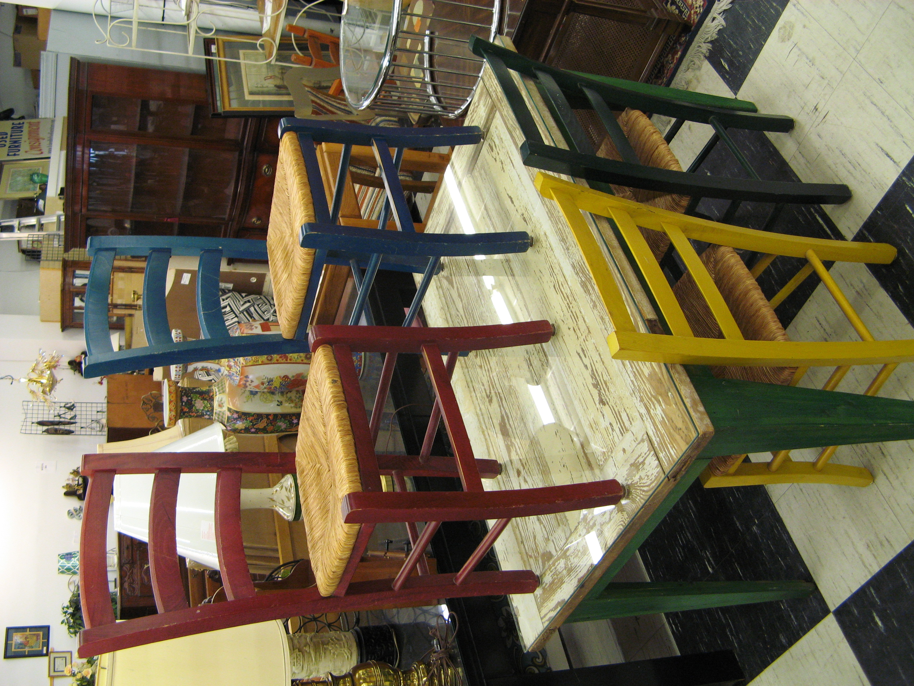 Upcycled Door Dining Table with 4 Different Color Chairs, Rush Seats